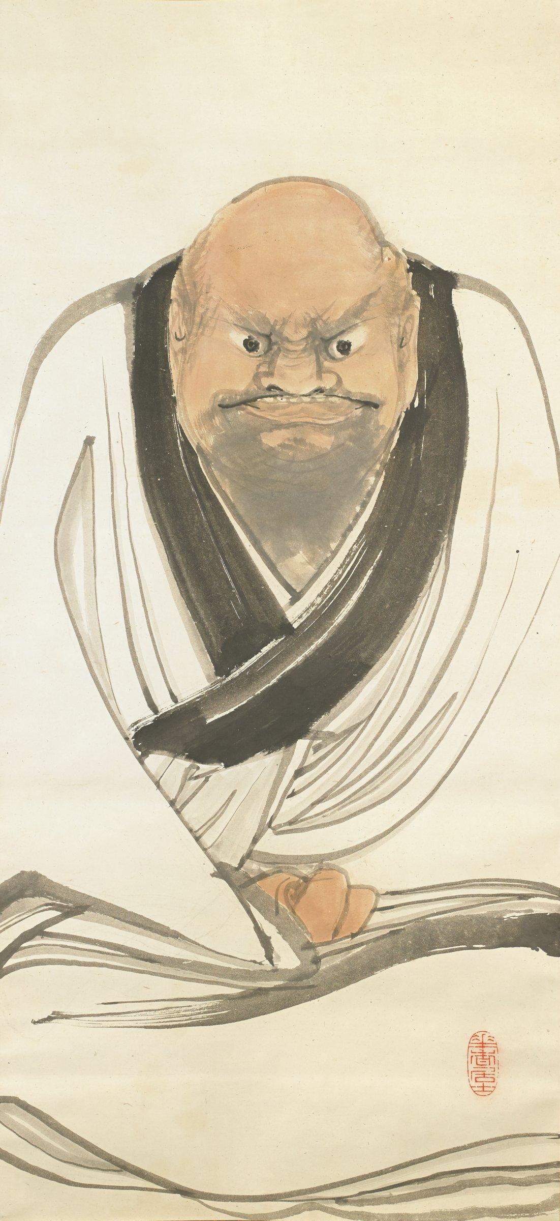 Daruma, Tsuji Kako, ink and color on paper