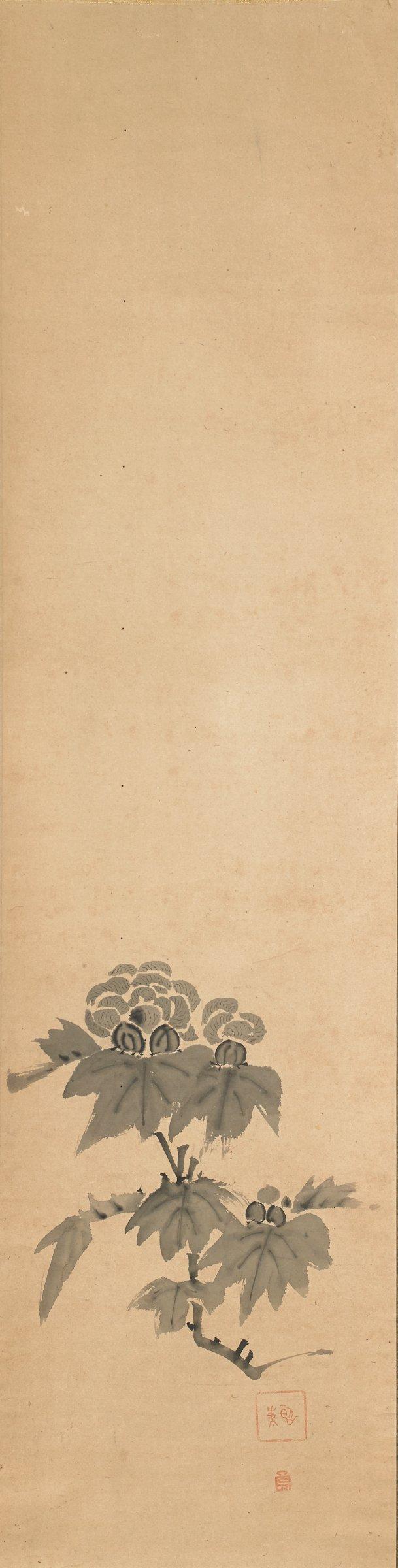 Fuyo (Peonies), Shokado Sojo, ink on paper