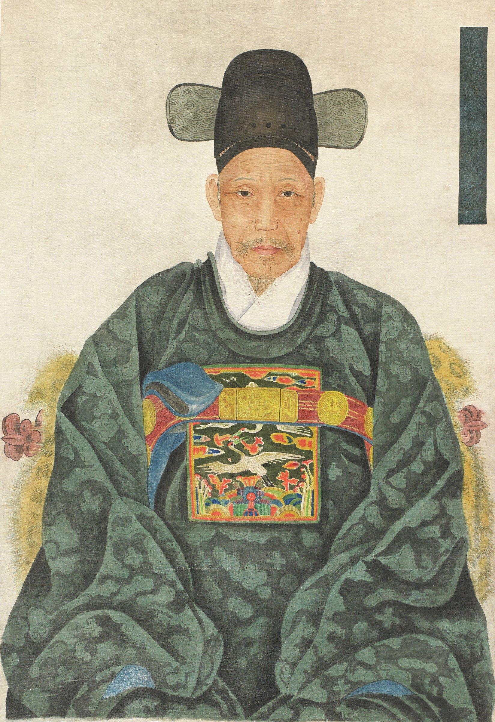 A Korean hanging scroll ancestor portrait of Mr. Ik Hyum Choi (1833-1906), new mounting