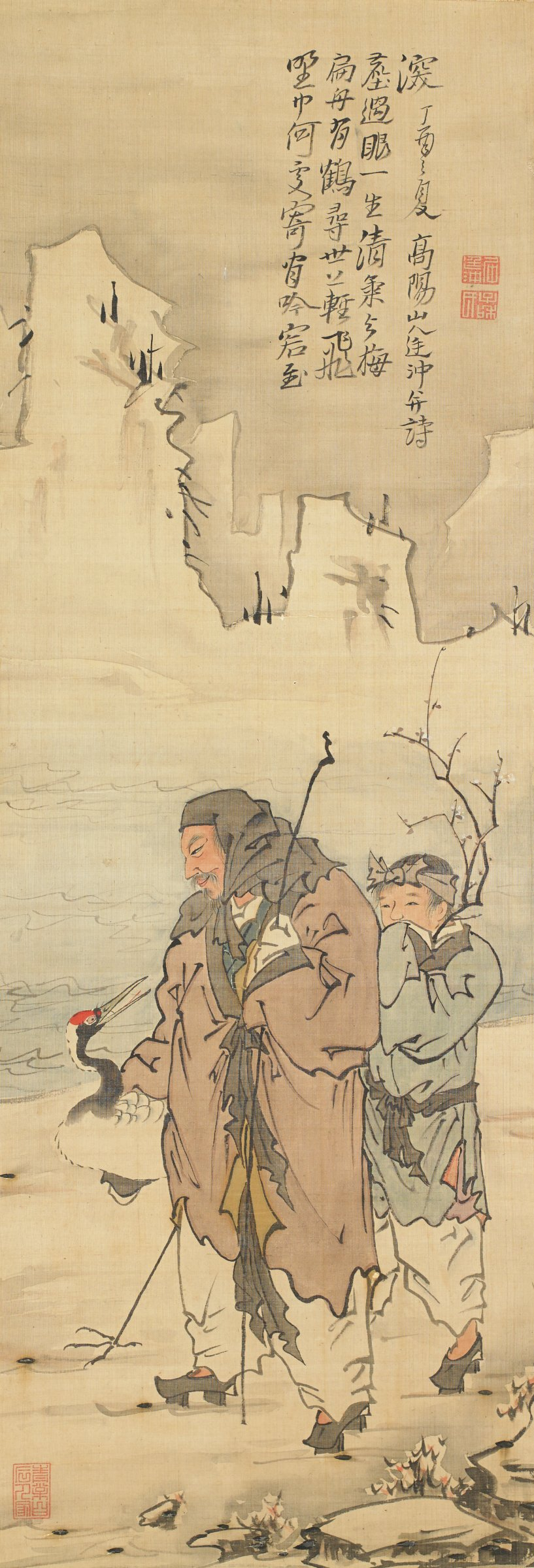 The Sage Lin Hoqing standing in a snowy landscape with an attendant and a crane nearby.????;