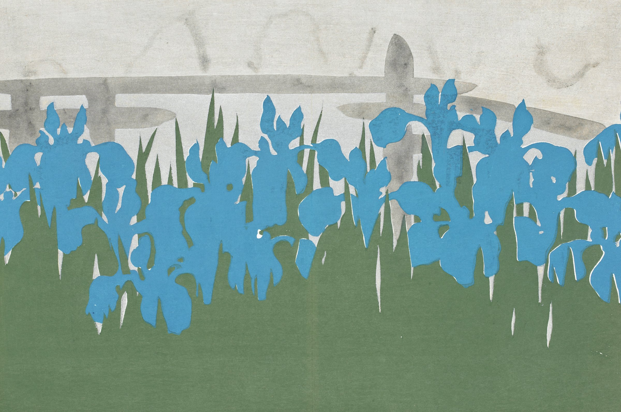 """Eight Bridges"" area famous for irises, as referred to in the Ise Monogatari and the Noh play Kakitsubata."