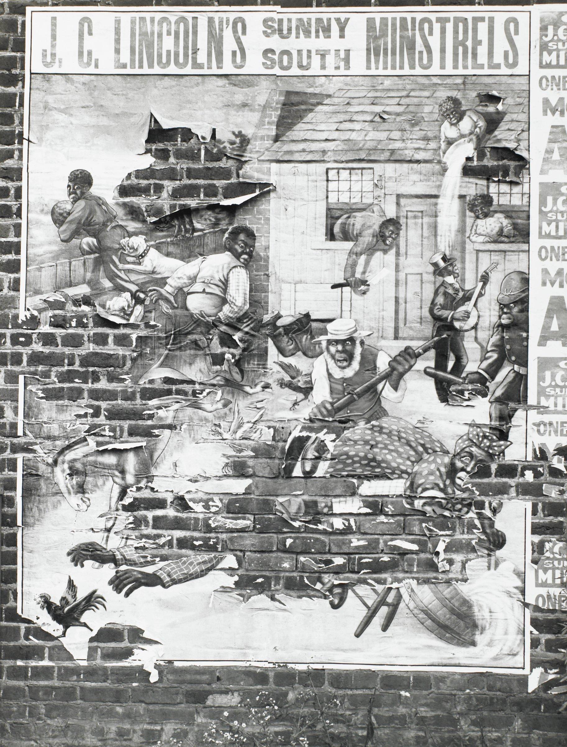"Torn Poster on Brick Wall Advertising ""J.C. Lincoln's Sunny South Minstrels,"" Alabama, Walker Evans, gelatin silver print"