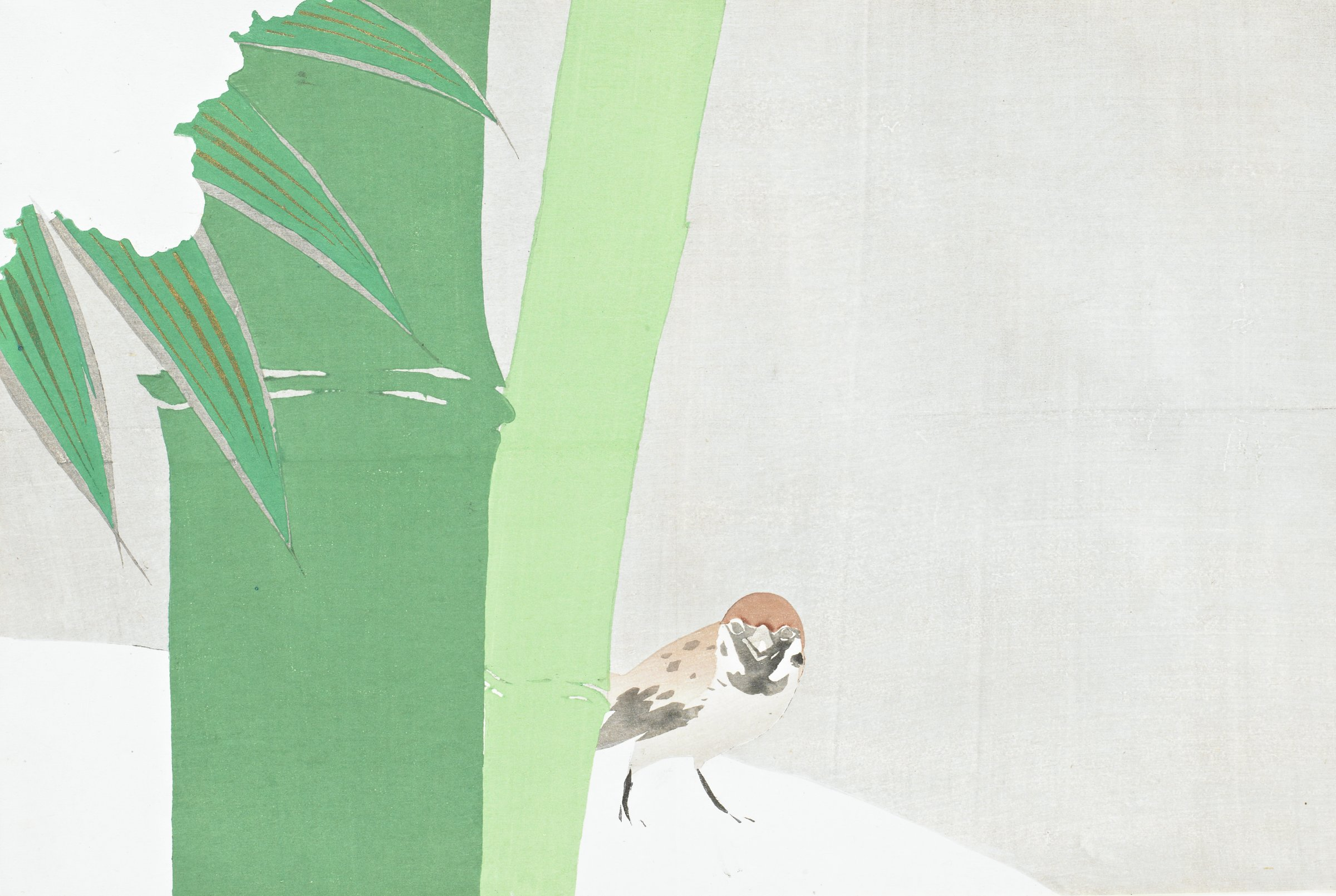 Settchu-dake (Bamboo in Snow), from Momoyogusa (A World of Things), Volume 1, Kamisaka Sekka, ink and color on paper