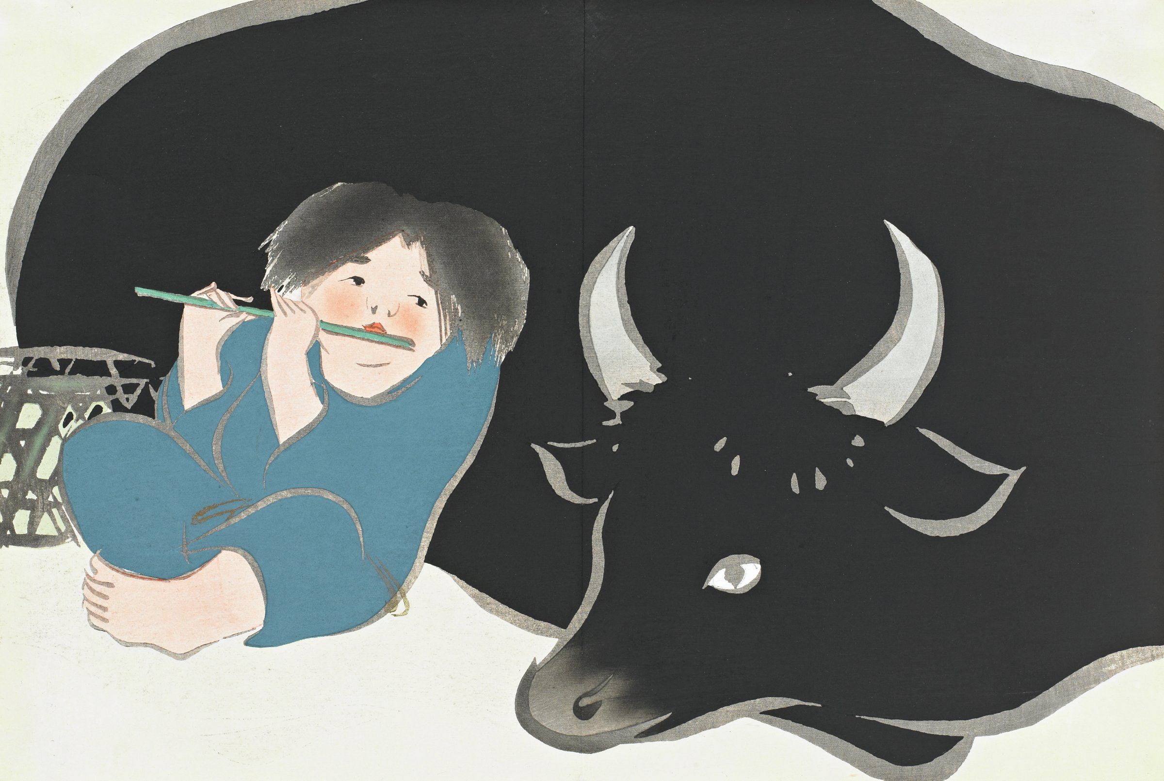 Bokudo (An Oxherd), from Momoyogusa (A World of Things), Volume 2, Kamisaka Sekka, ink and color on paper