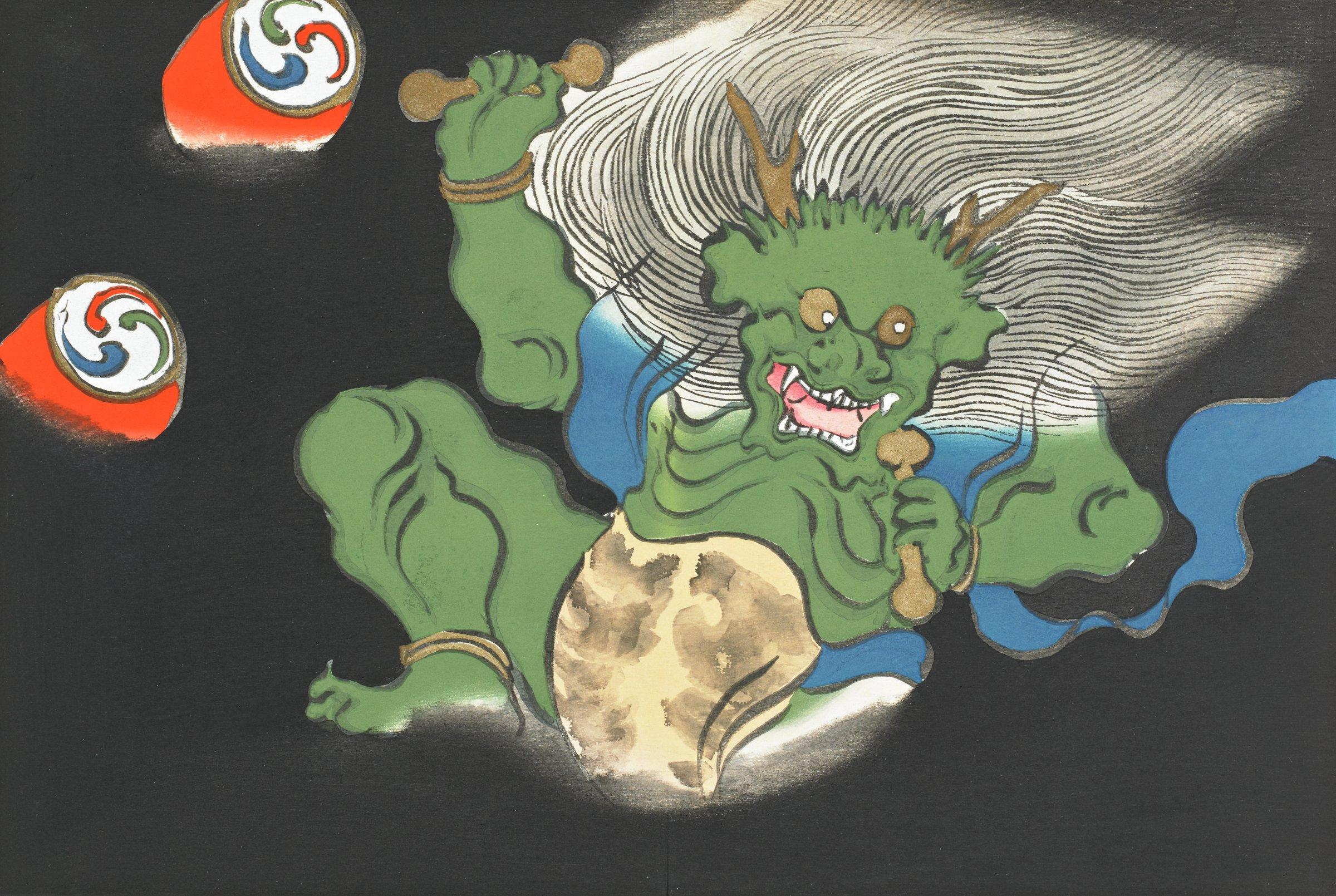 Kaminari (The God of Thunder and Lightning), from Momoyogusa (A World of Things), Volume 2, Kamisaka Sekka, ink and color on paper
