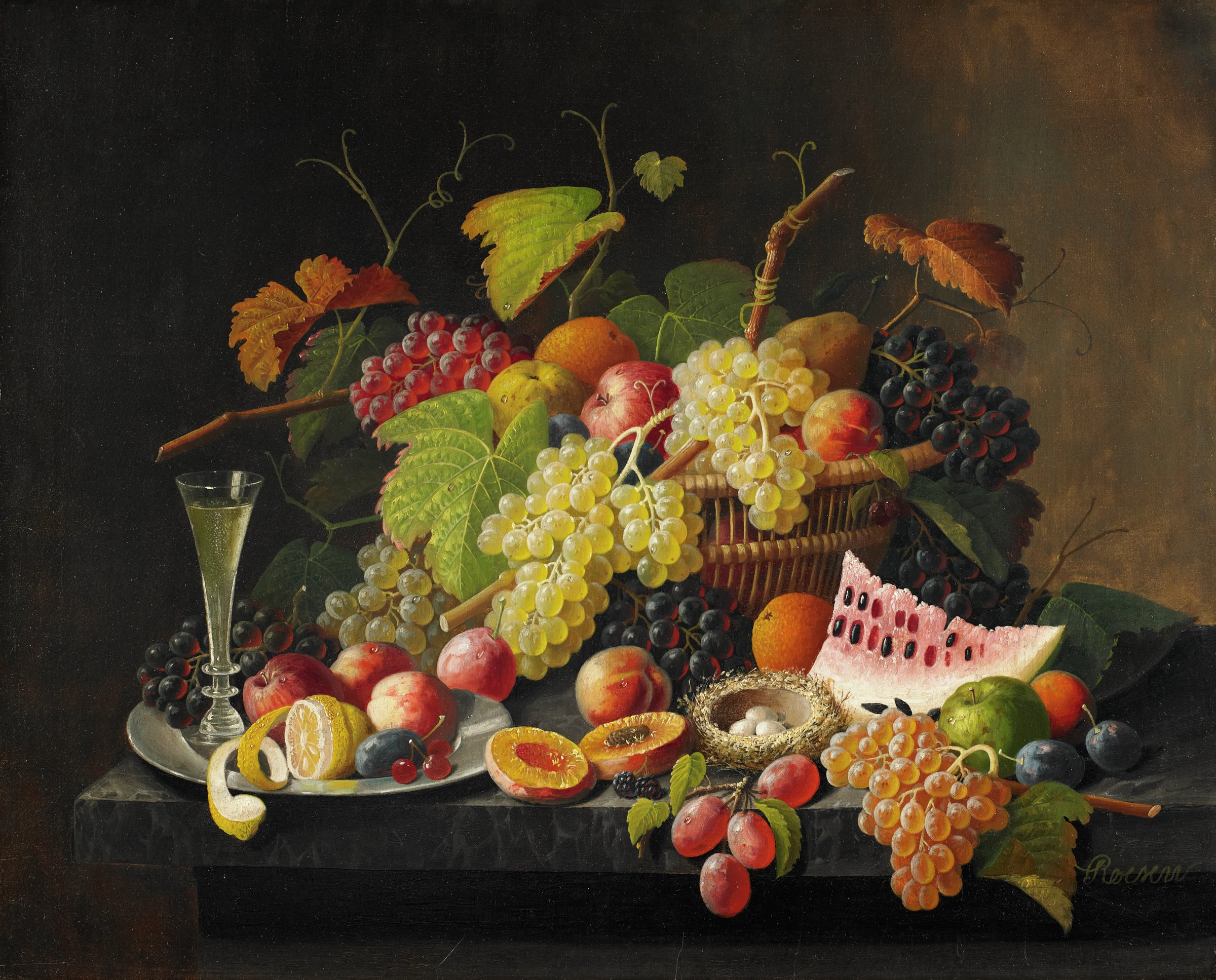 """This painting represents a basket of fruit sitting on a marble tabletop. Within the basket are grapes with grape leaves and vines, apples, peaches, an orange, and a pear. Spilling from the basket onto the tabletop are grapes, peaches, plums, apples, oranges, and a piece of cut watermelon. Amid the tabletop fruit is a bird's nest containing three eggs. There is also a silver plate on the tabletop, and on the silver plate are a filled champagne flute and a peeled lemon, as well as grapes, apples, peaches, a plum, and two currants. The artist has signed the painting """"Roesen"""" in the lower right corner by extending a grape vine."""