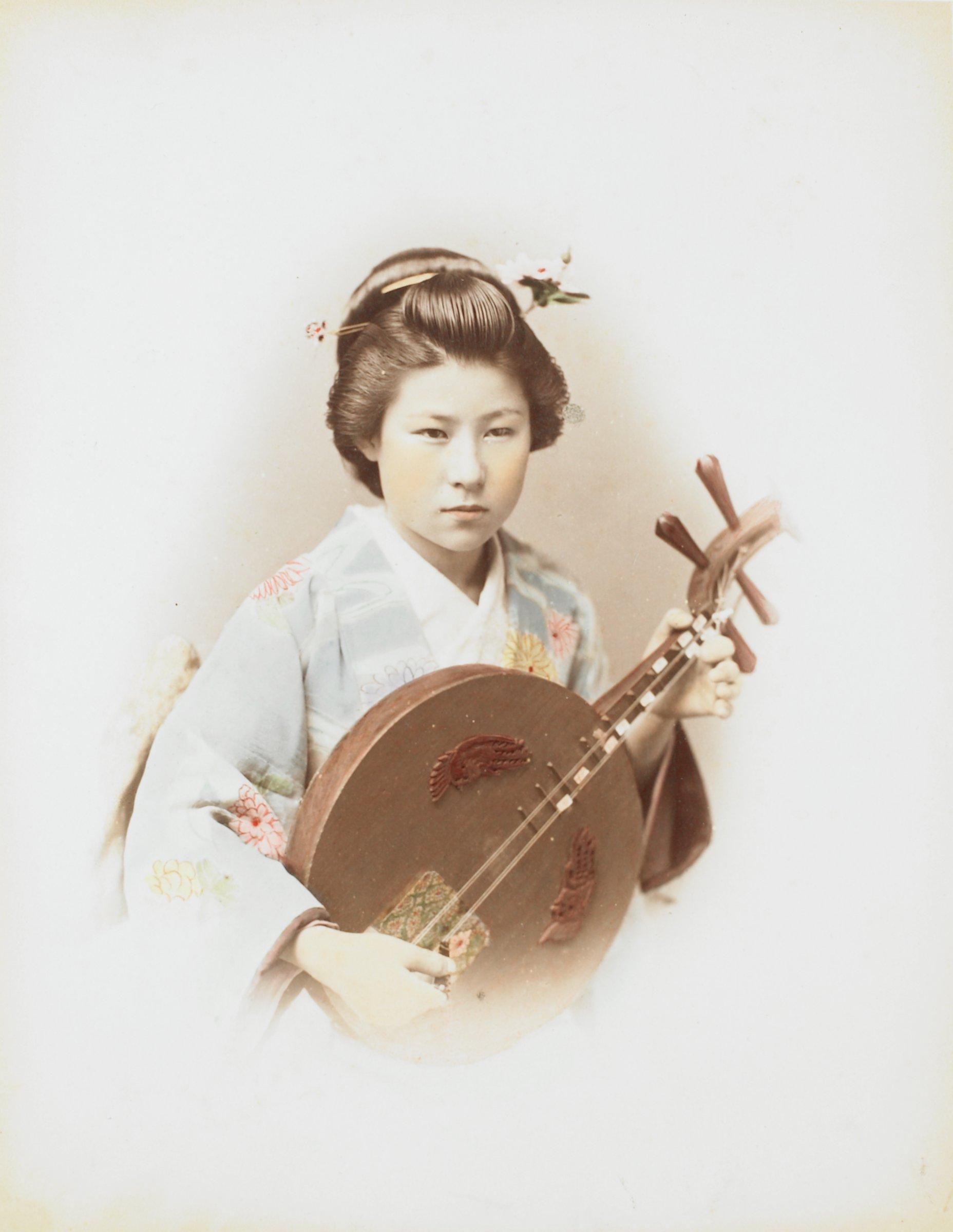 Girl With Shamisen (recto); Suwa Temple, Nagasaki (verso), Attributed to Kusakabe Kimbei, hand-colored albumen prints