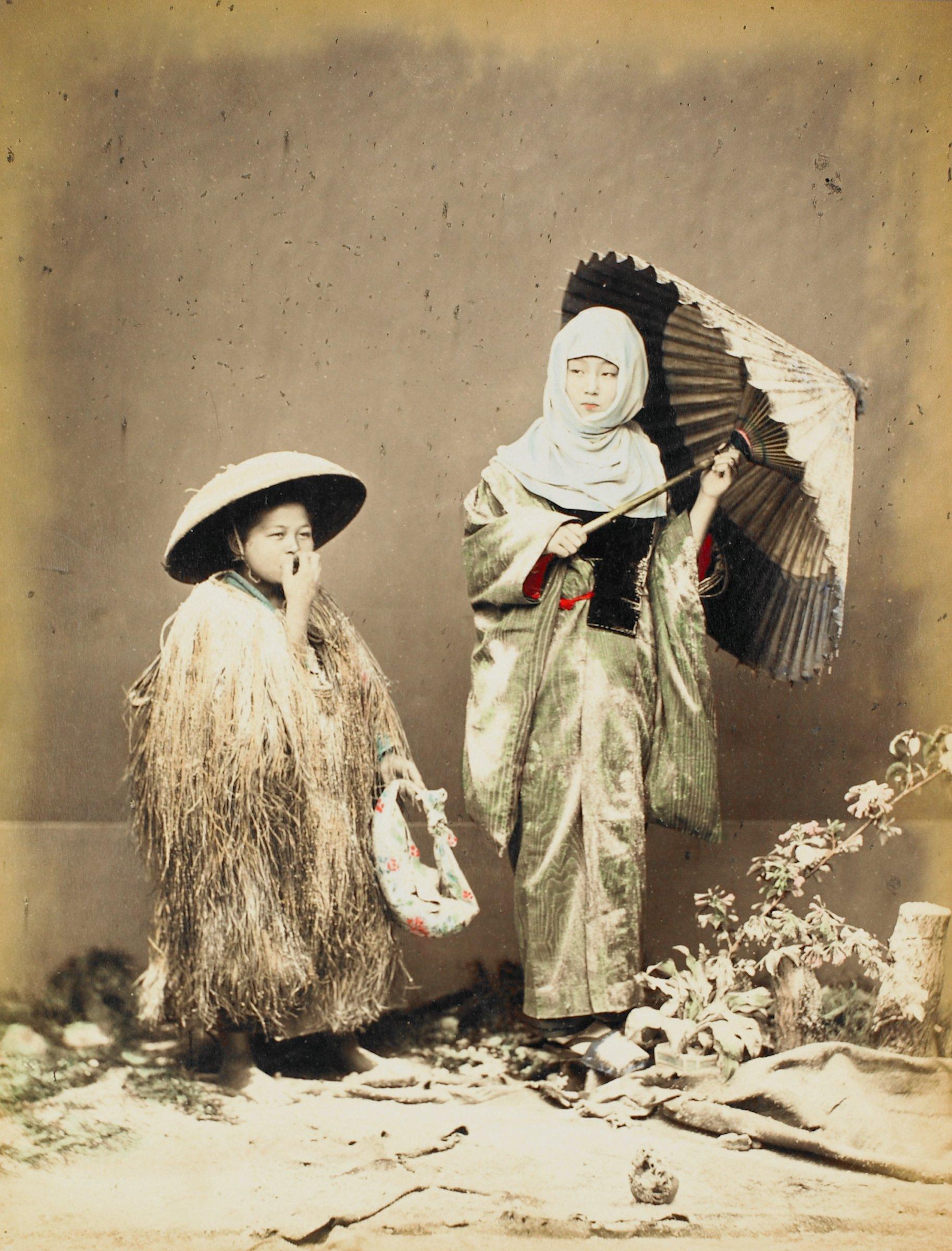 Winter Costume (recto); Jzo Gamman Nikko (verso), Attributed to Kusakabe Kimbei, hand-colored albumen prints