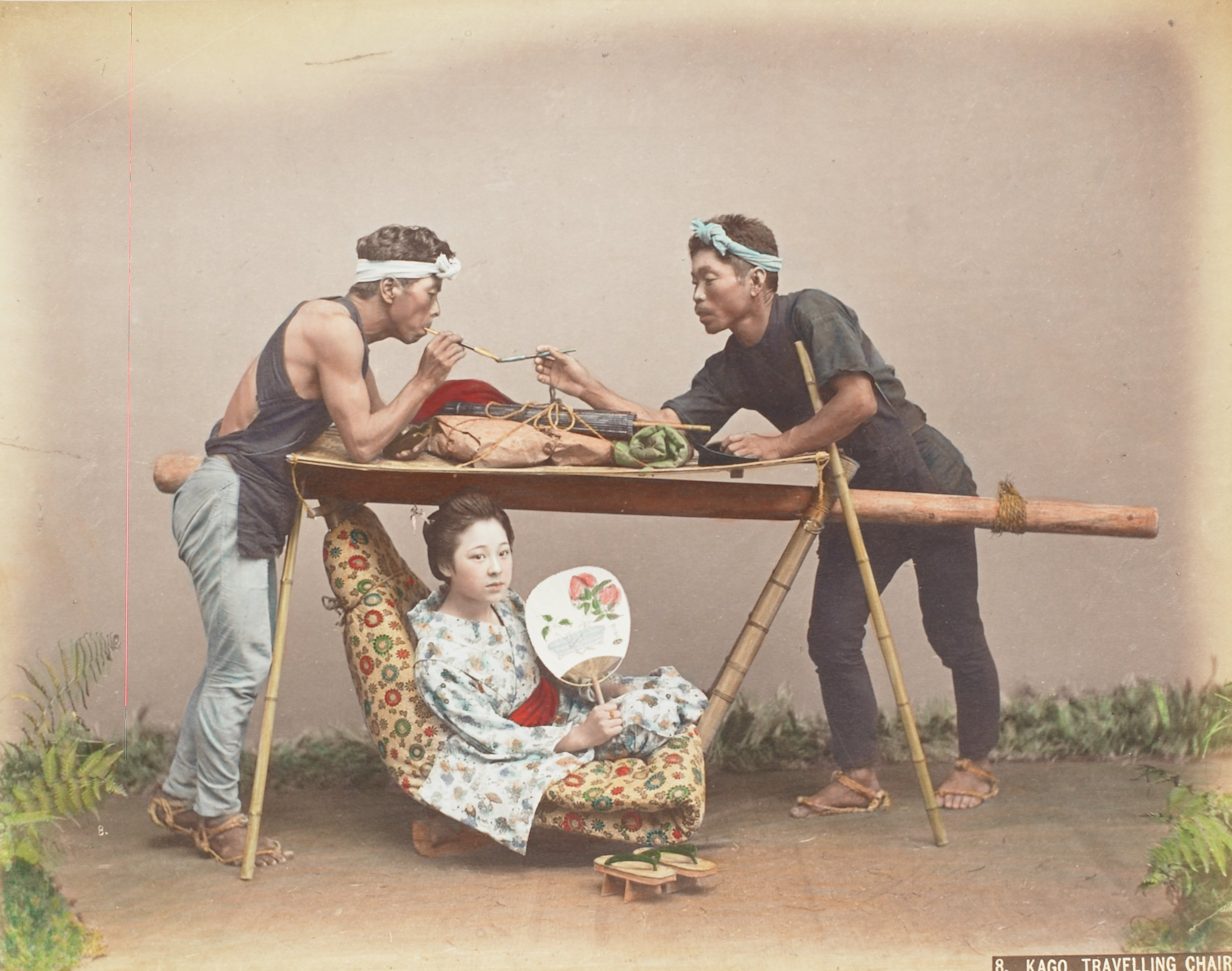 Kago Travelling Chair (.10, recto); Visiting Ceremonials (.11, verso), Attributed to Kusakabe Kimbei, hand-colored albumen prints mounted to album page