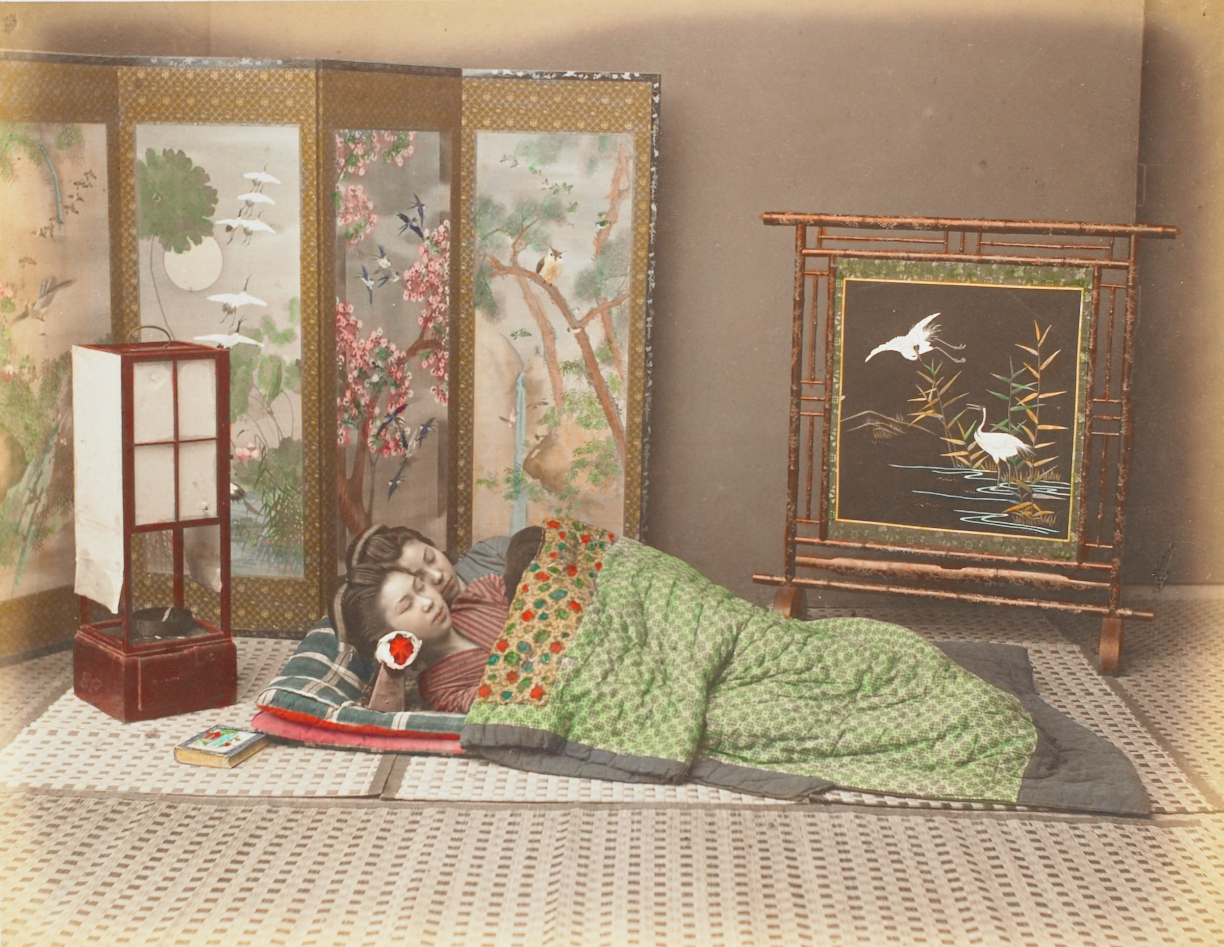 Sleeping Girls (.14, recto); Westside Resting Place (.15, verso), Attributed to Kusakabe Kimbei, hand-colored albumen prints mounted to album page
