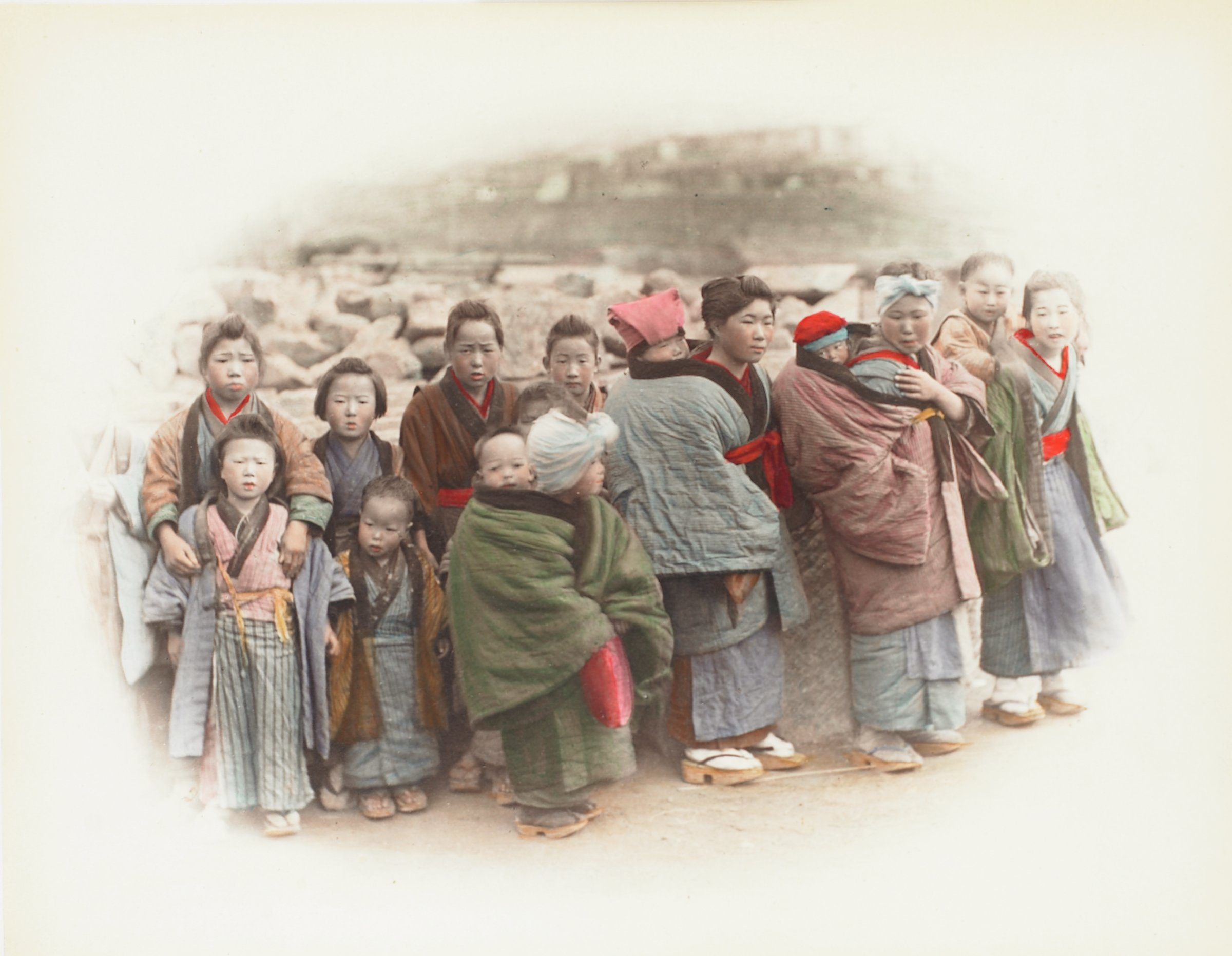 Pounding Rice (.18, recto); Country Children (.19, verso), Attributed to Kusakabe Kimbei, hand-colored albumen prints mounted to album page