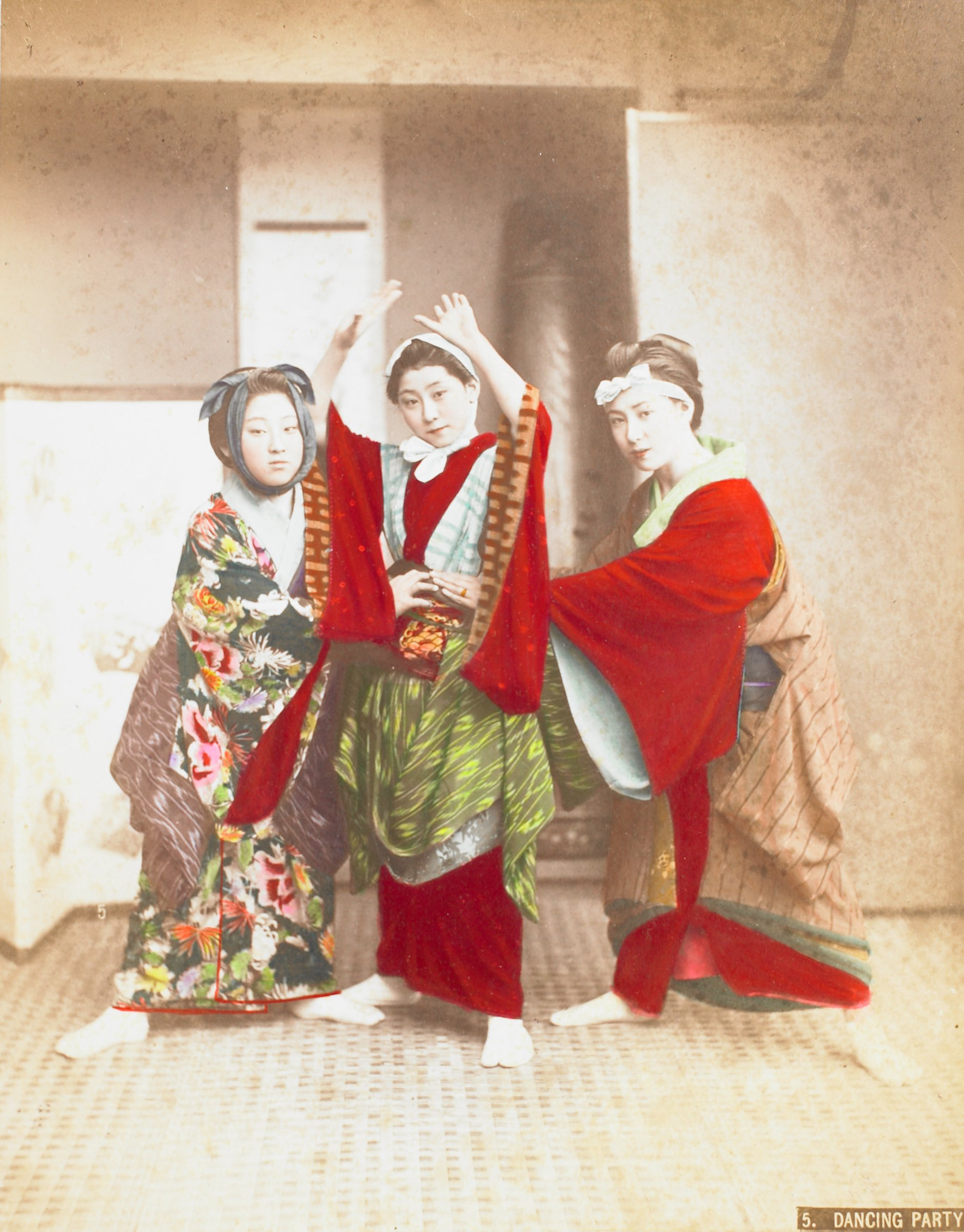 Dancing Party, Attributed to Kusakabe Kimbei, hand-colored albumen print mounted to album page
