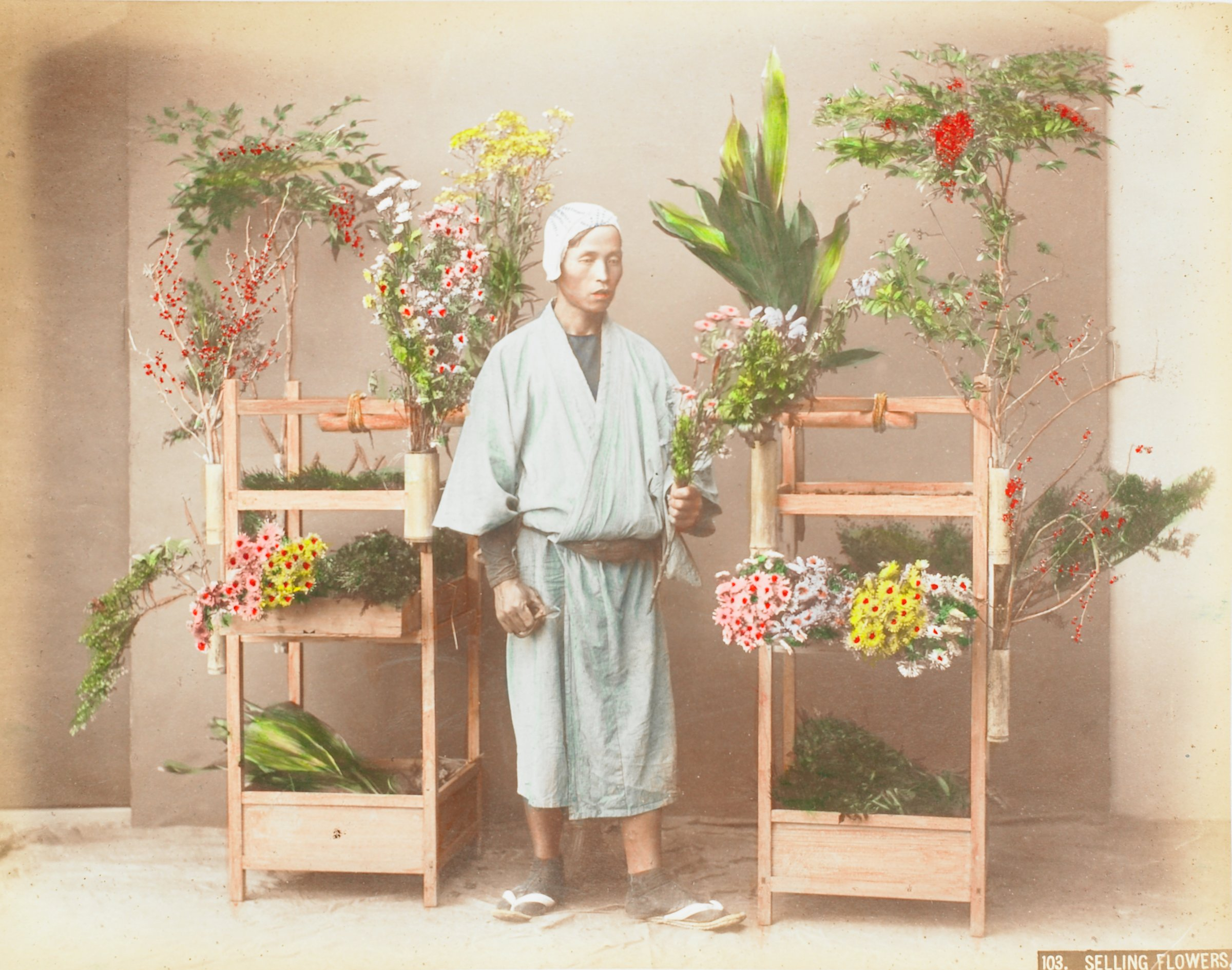 Selling Flowers (.20, recto); Ferry Boat (.21, verso), Attributed to Kusakabe Kimbei, hand-colored albumen prints mounted to album page