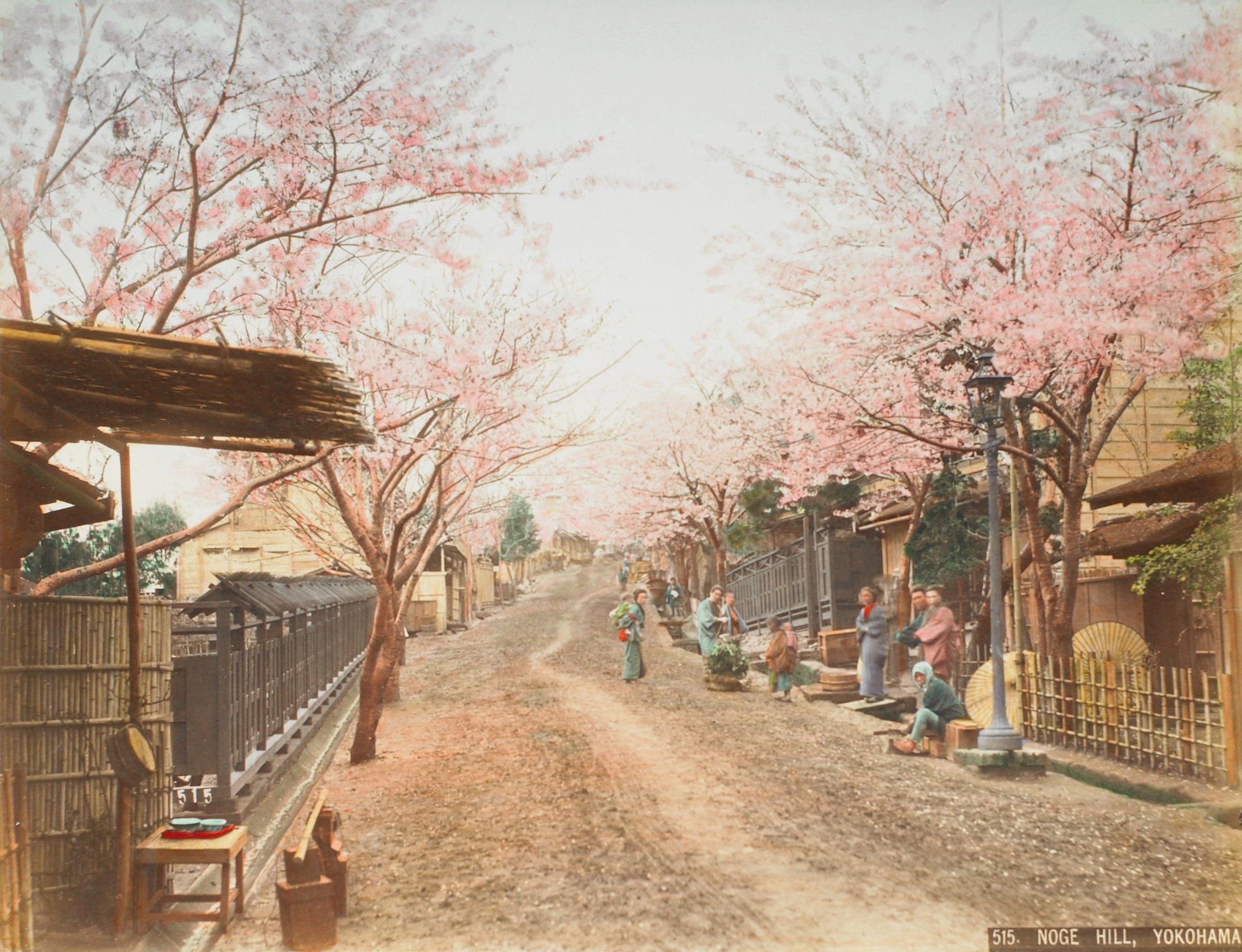 Theatre Street, Yokohama (.22, recto); Noge Hill, Yokohama (.23, verso), Attributed to Kusakabe Kimbei, hand-colored albumen prints mounted to album page