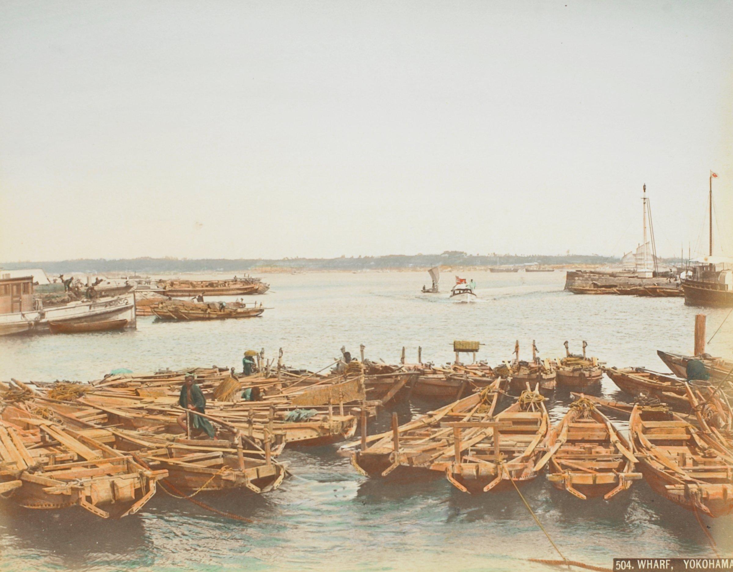 Benten Dori, Yokohama (.24, recto); Wharf, Yokohama (.25, verso), Attributed to Kusakabe Kimbei, hand-colored albumen prints mounted to album page