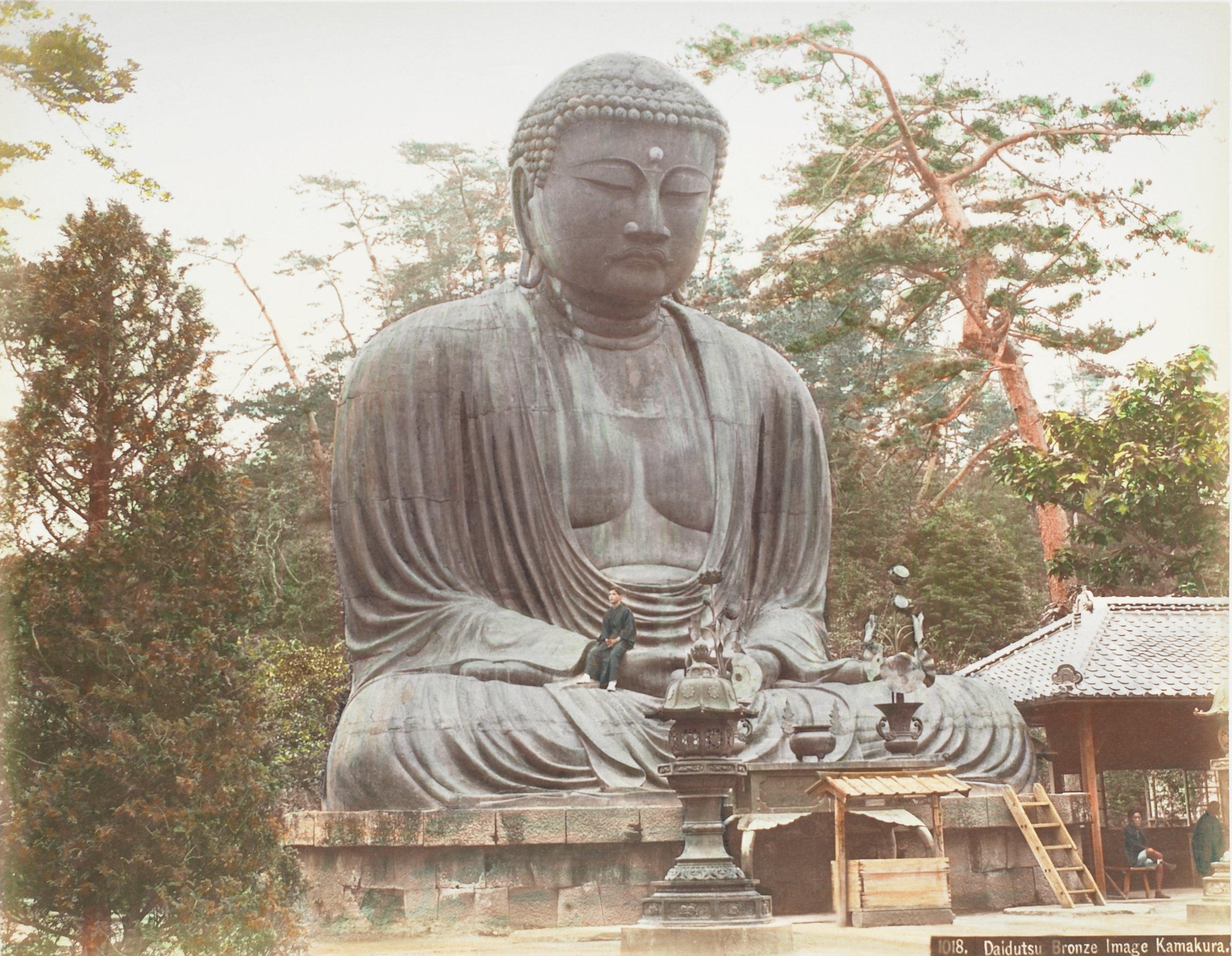 Daidutsu Bronze Image Kamakura (.28, recto); Fujiya Garden Miyanoshita (.29, verso), Attributed to Kusakabe Kimbei, hand-colored albumen prints mounted to album page