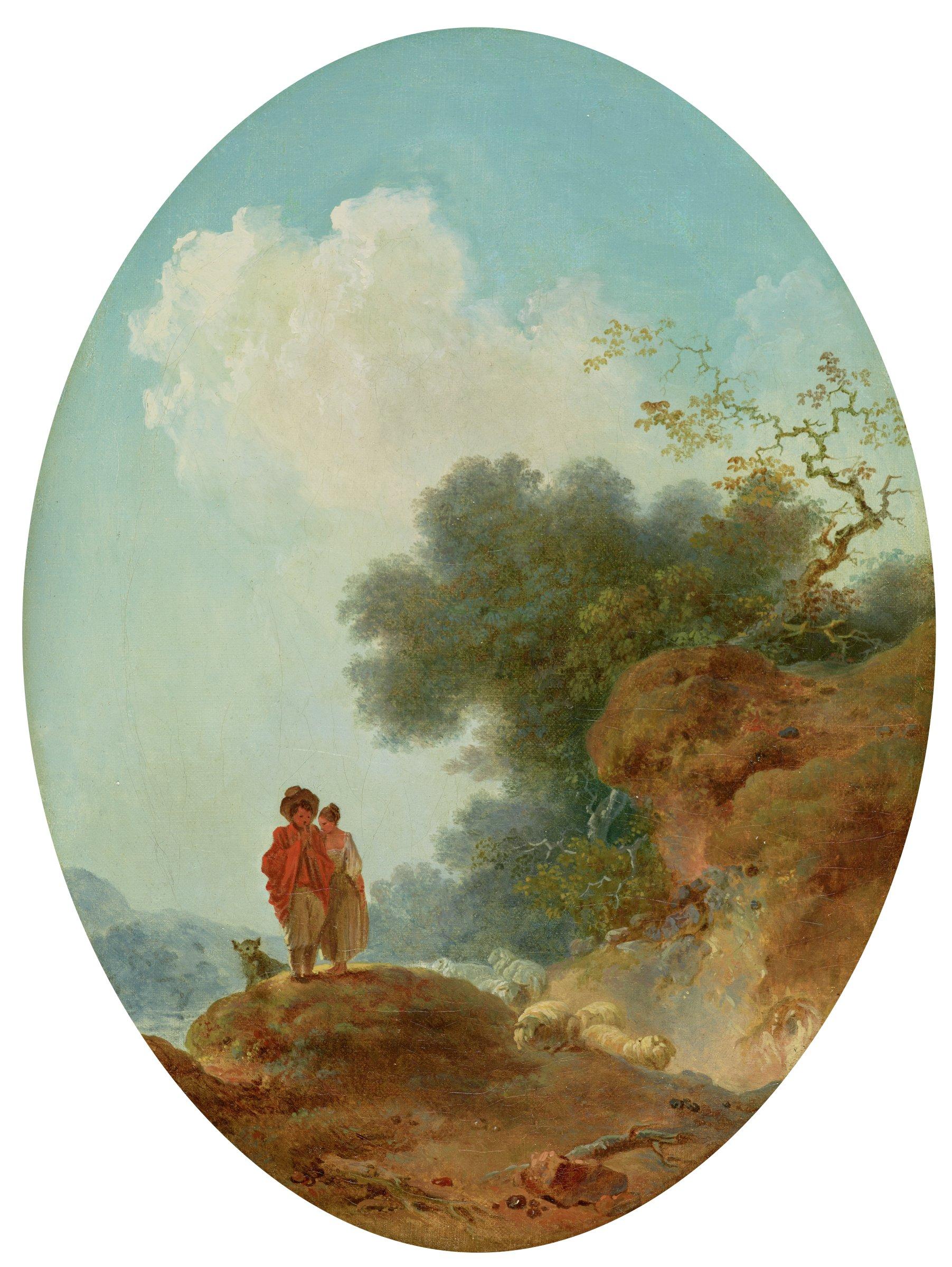 Les Bergers (Shepherds), Jean-Honoré Fragonard, oil on canvas