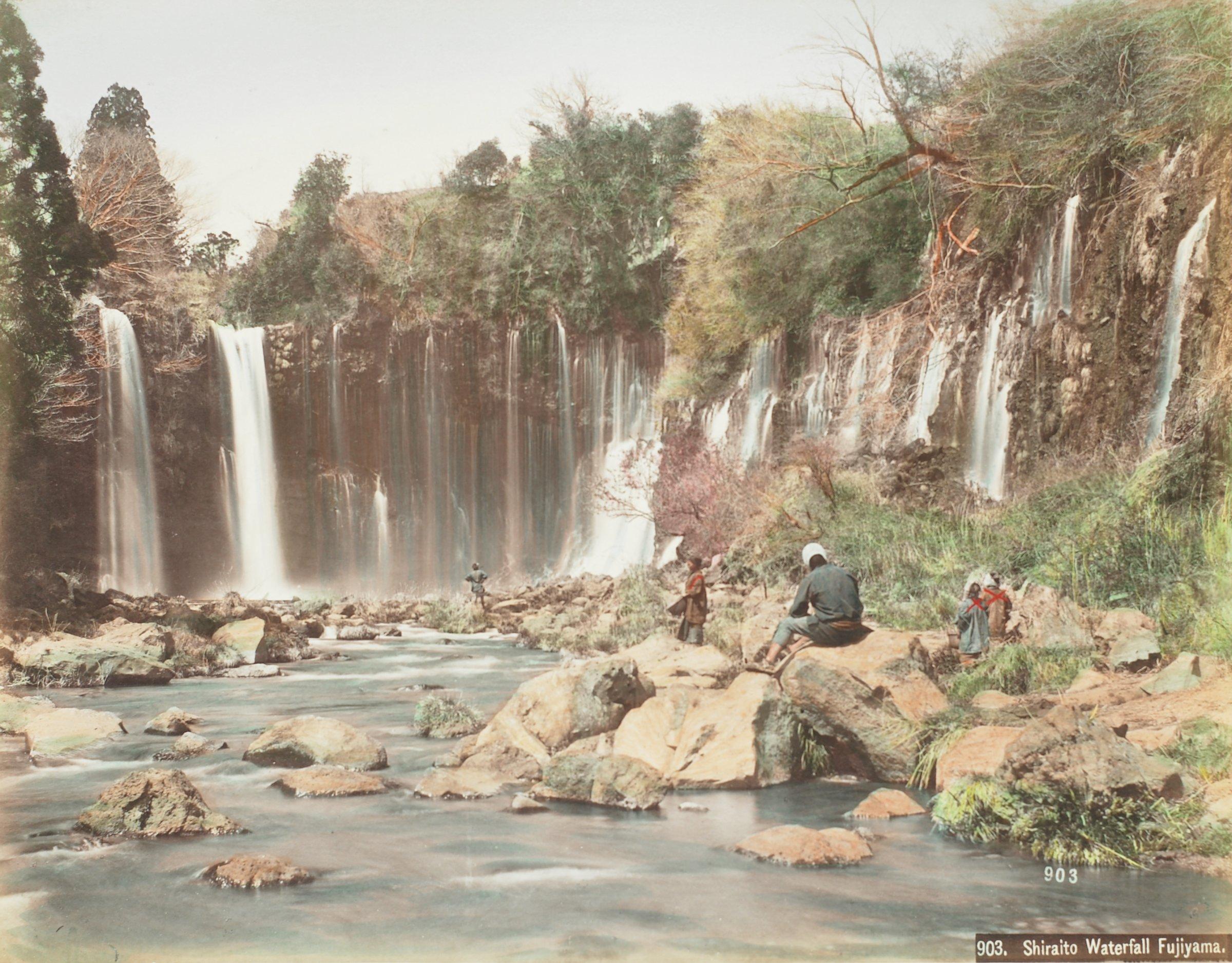 Fujiyama From Omiya Village (.32, recto); Shiraito Waterfall Fujiyama (.33, verso), Attributed to Kusakabe Kimbei, hand-colored albumen prints mounted to album page