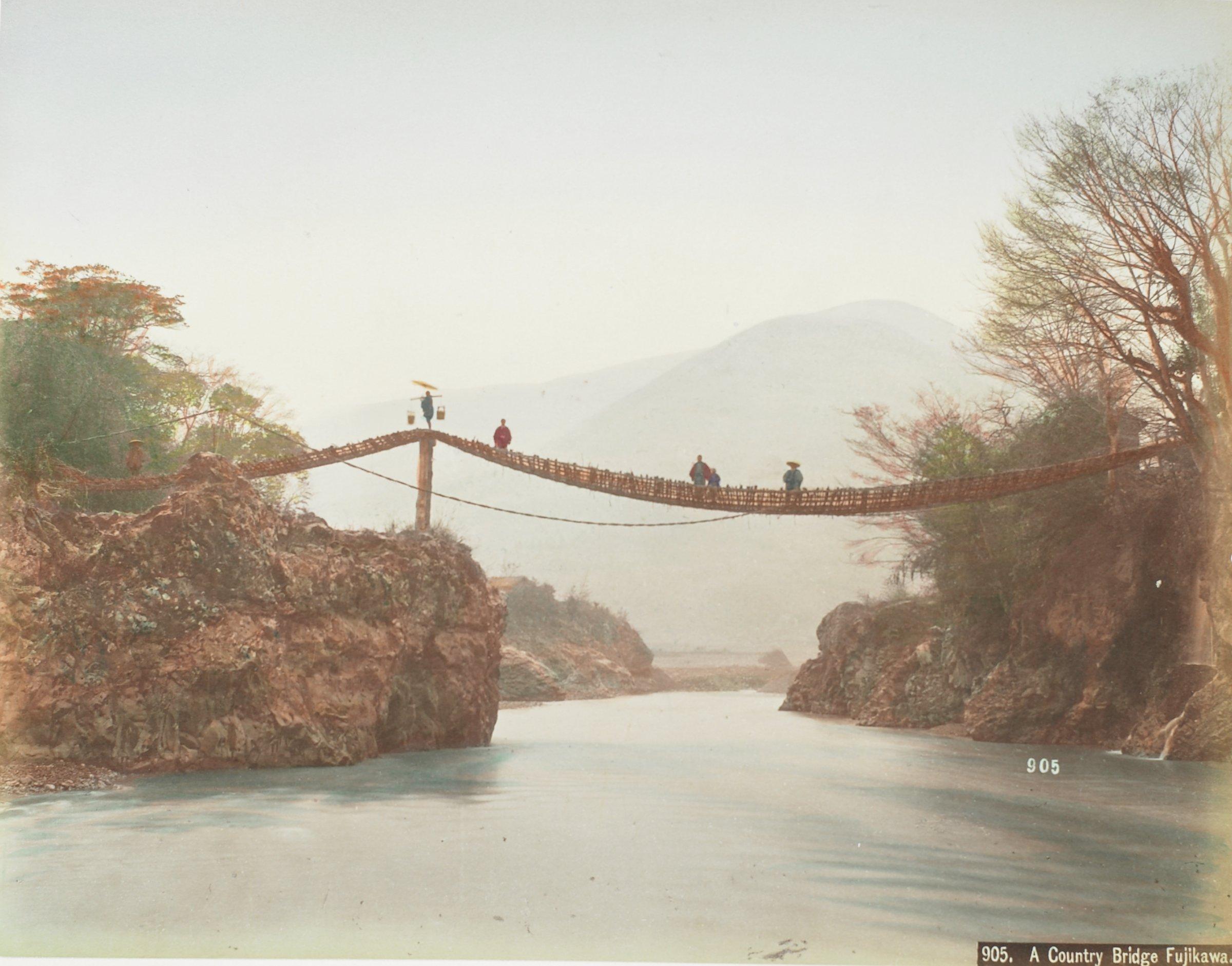 A Country Bridge Fujikawa (.34, recto); Stone Lanterns Shiba (.35, verso), Attributed to Kusakabe Kimbei, hand-colored albumen prints mounted to album page