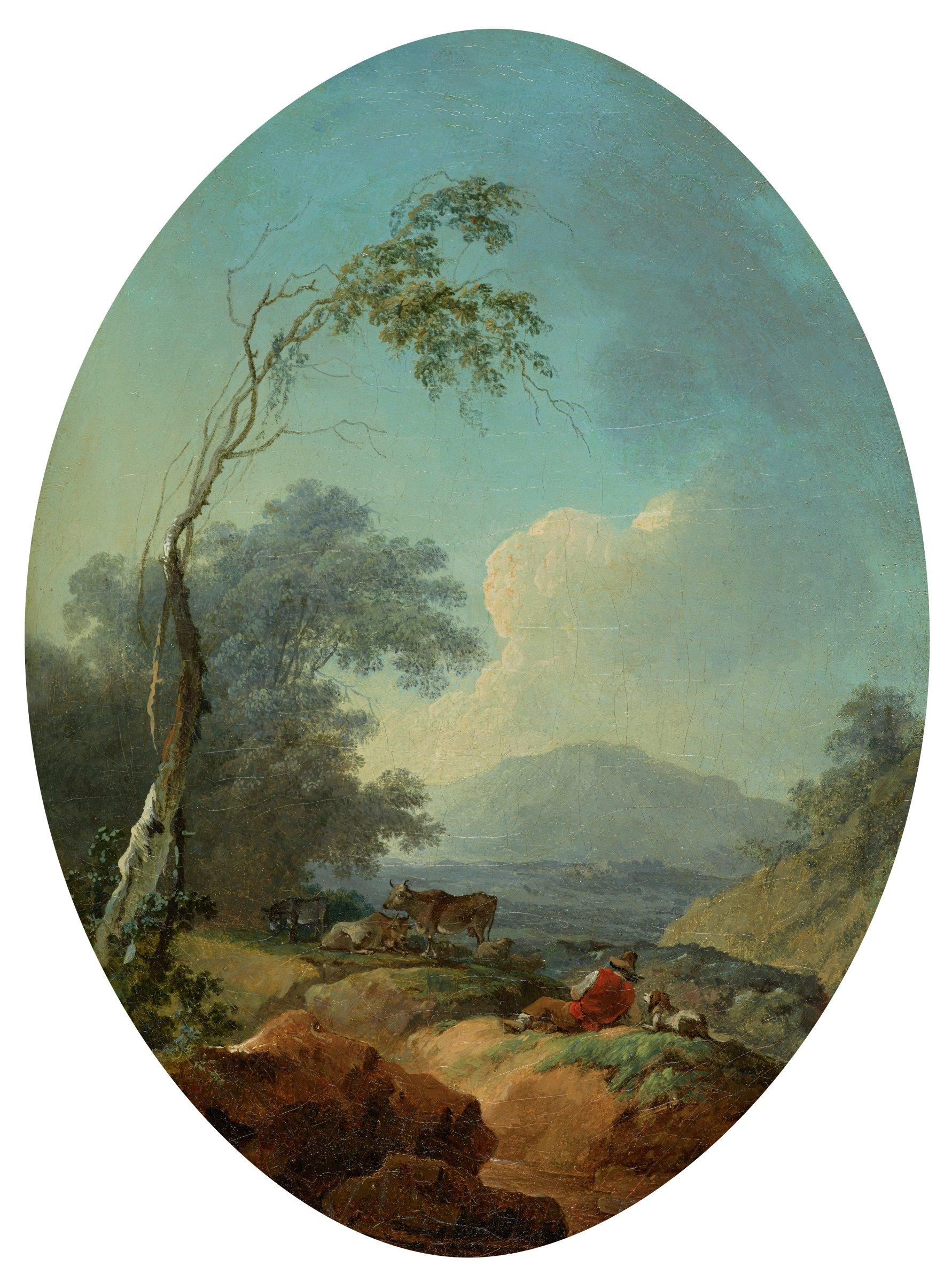 Pâtre au repos (Herdsmen in Italianate Landscape), Jean-Honoré Fragonard, oil on canvas