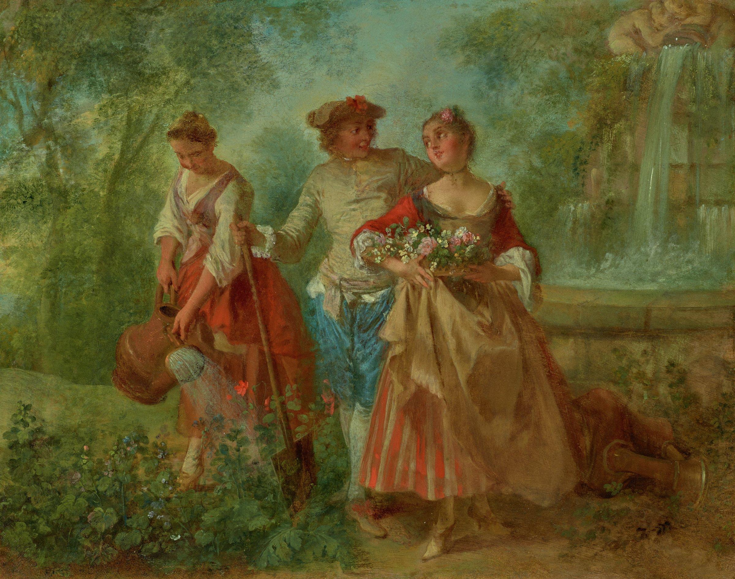 Allegory of Spring, Nicolas Lancret, oil on copper