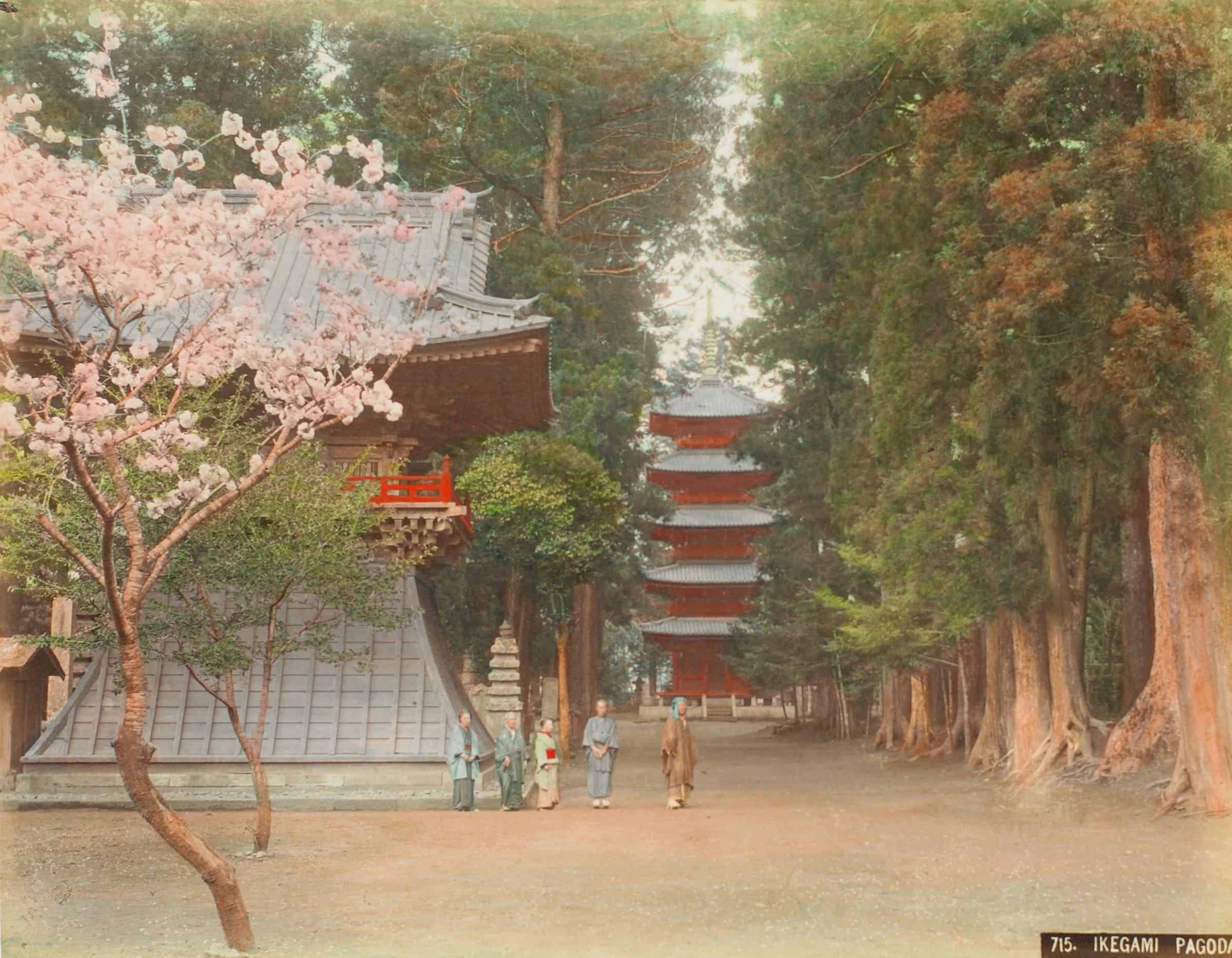 Shindoazu (Pond) Uyeno, Tokio (.38, recto); Ikegami Pagoda (.39, verso), Attributed to Kusakabe Kimbei, hand-colored albumen prints mounted to album page