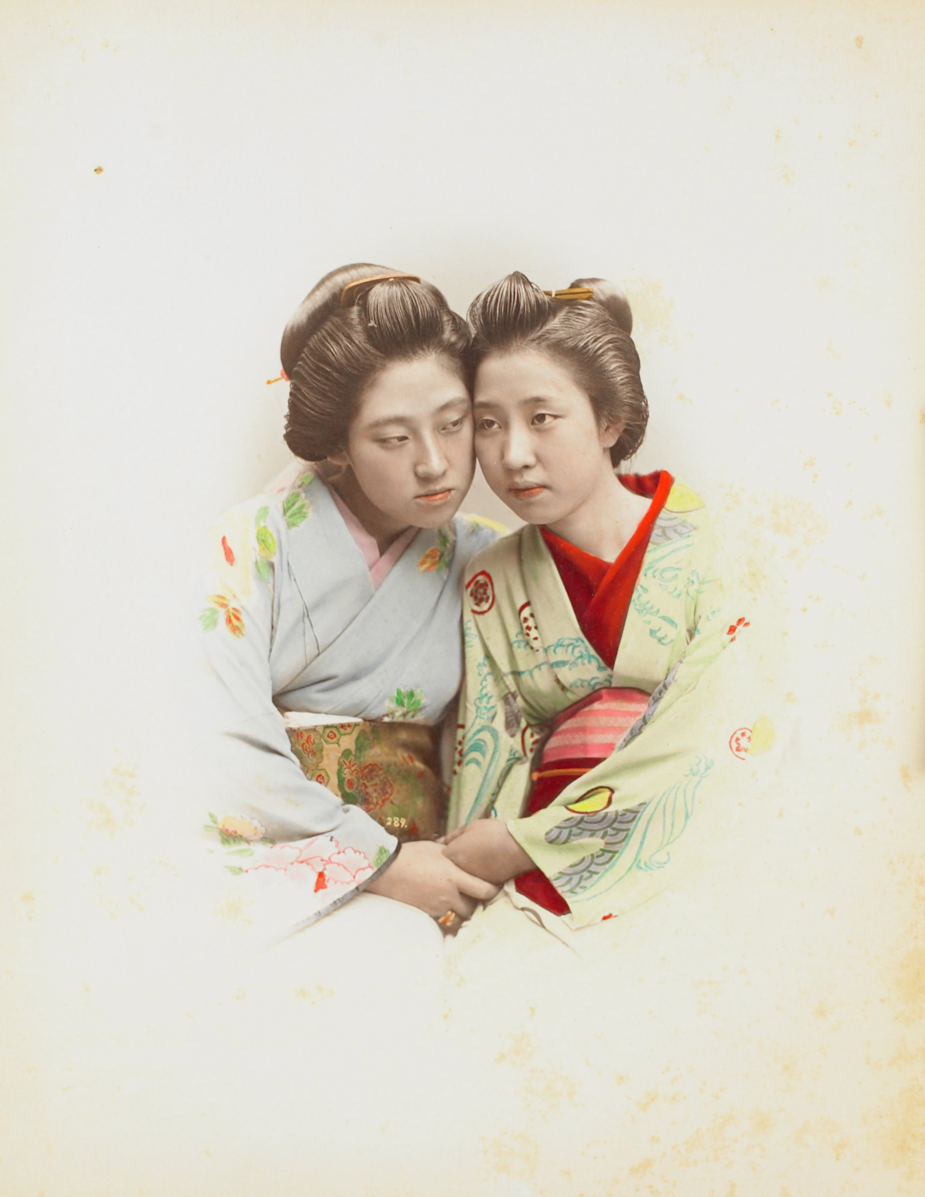 Hair Dressing (.2, recto); Portrait of Friends (.3, verso), Attributed to Kusakabe Kimbei, hand-colored albumen prints mounted to album page