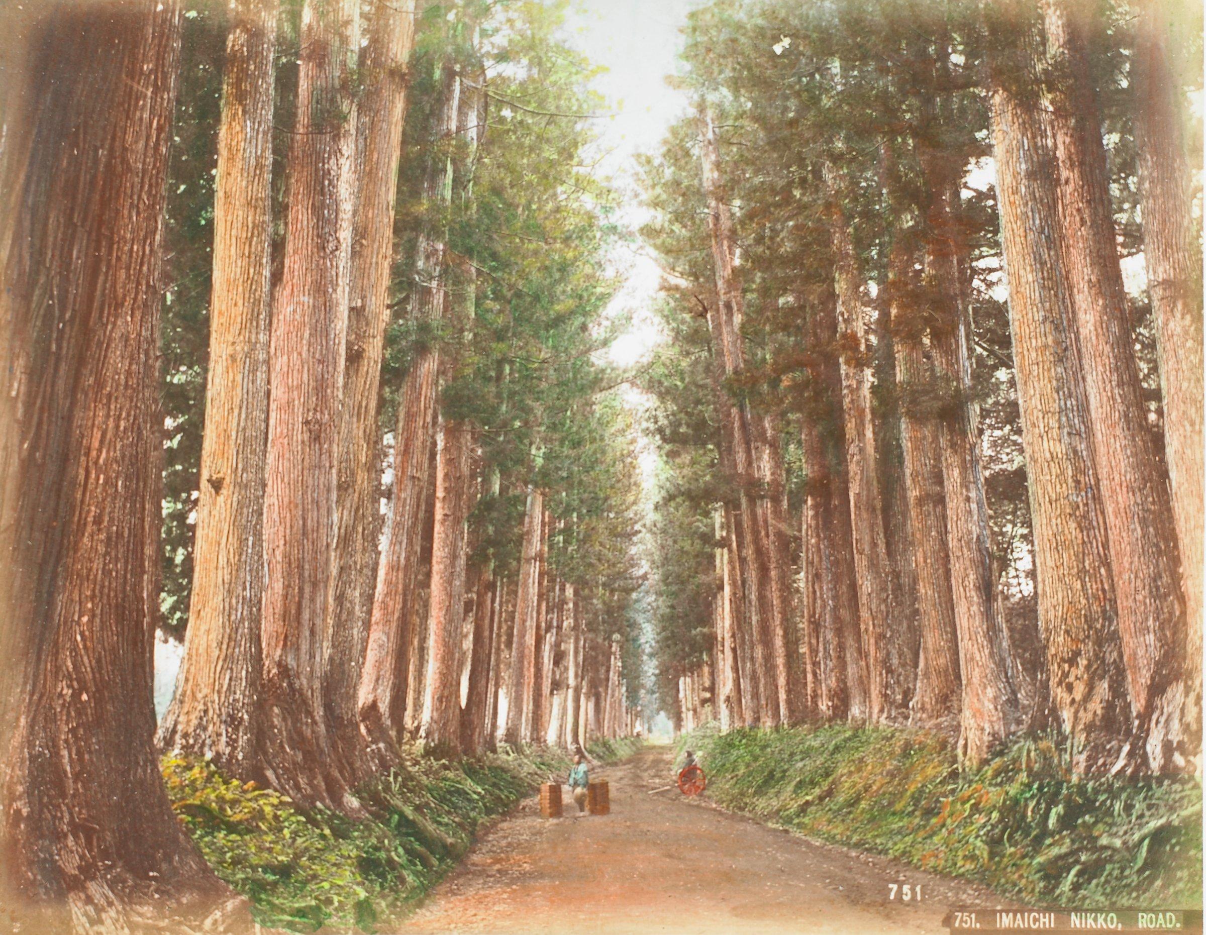 Imaichi Nikko, Road (.40, recto); Sacred Bridge, Nikko (.41, verso), Attributed to Kusakabe Kimbei, hand-colored albumen prints mounted to album page