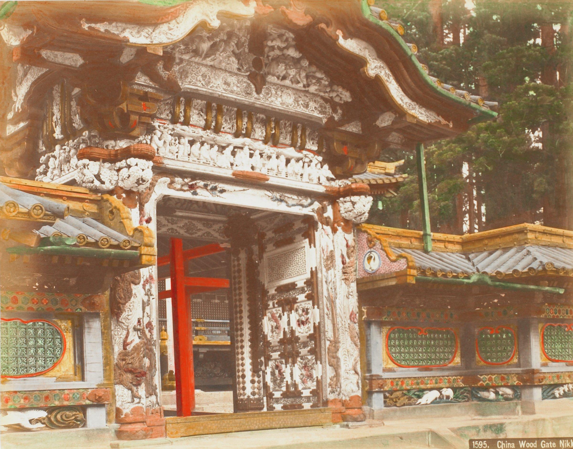 China Wood Gate Nikko (.42, recto); Ganman No Fuchi (pool of Ganman) at Nikko (.43, verso), Attributed to Kusakabe Kimbei, hand-colored albumen prints mounted to album page