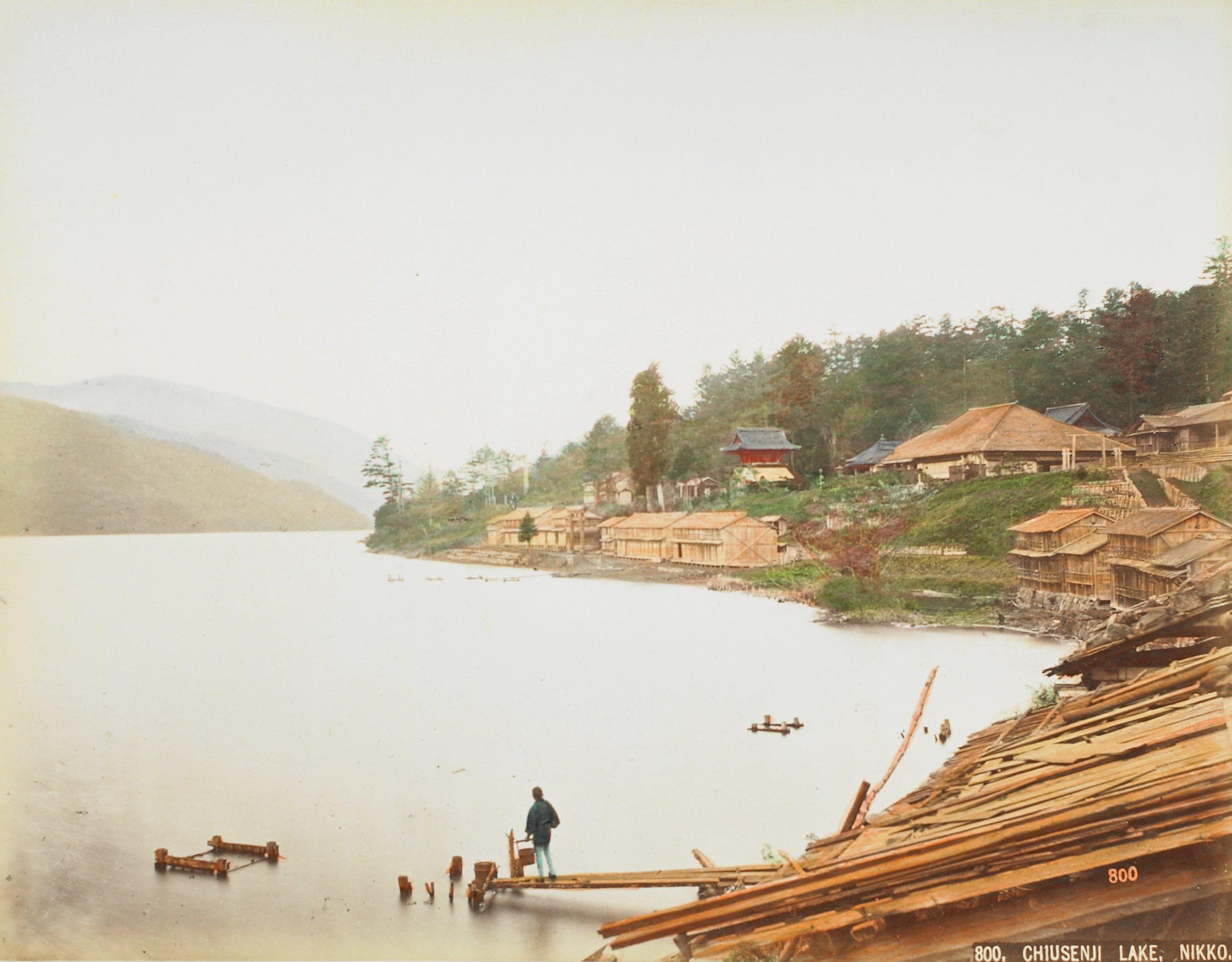 Chiusenji Lake, Nikko (.44, recto); Kakehashi Kisogawa (.45, verso), Attributed to Kusakabe Kimbei, hand-colored albumen prints mounted to album page
