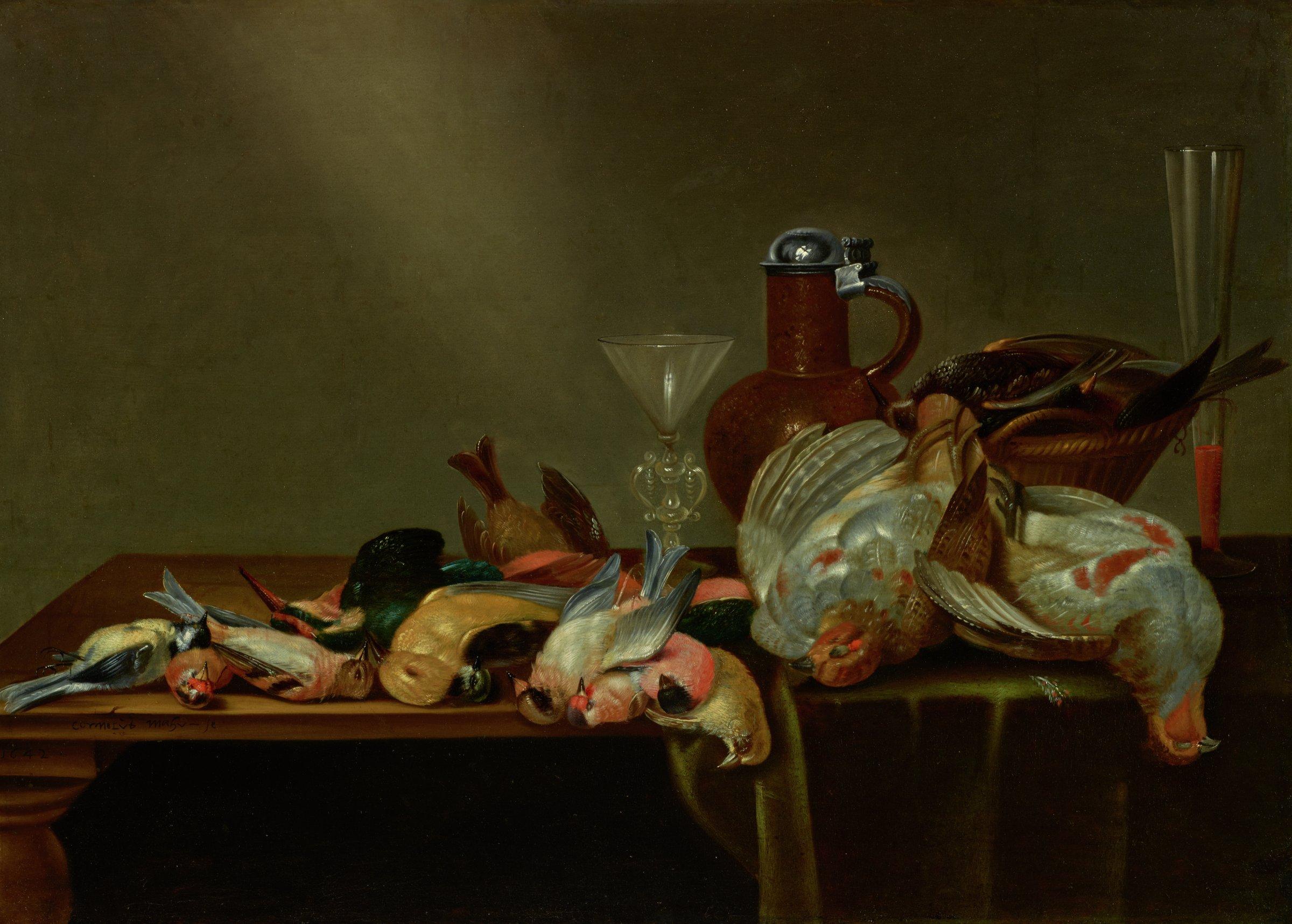 Still Life with Game Birds, Cornelis Mahu, oil on canvas