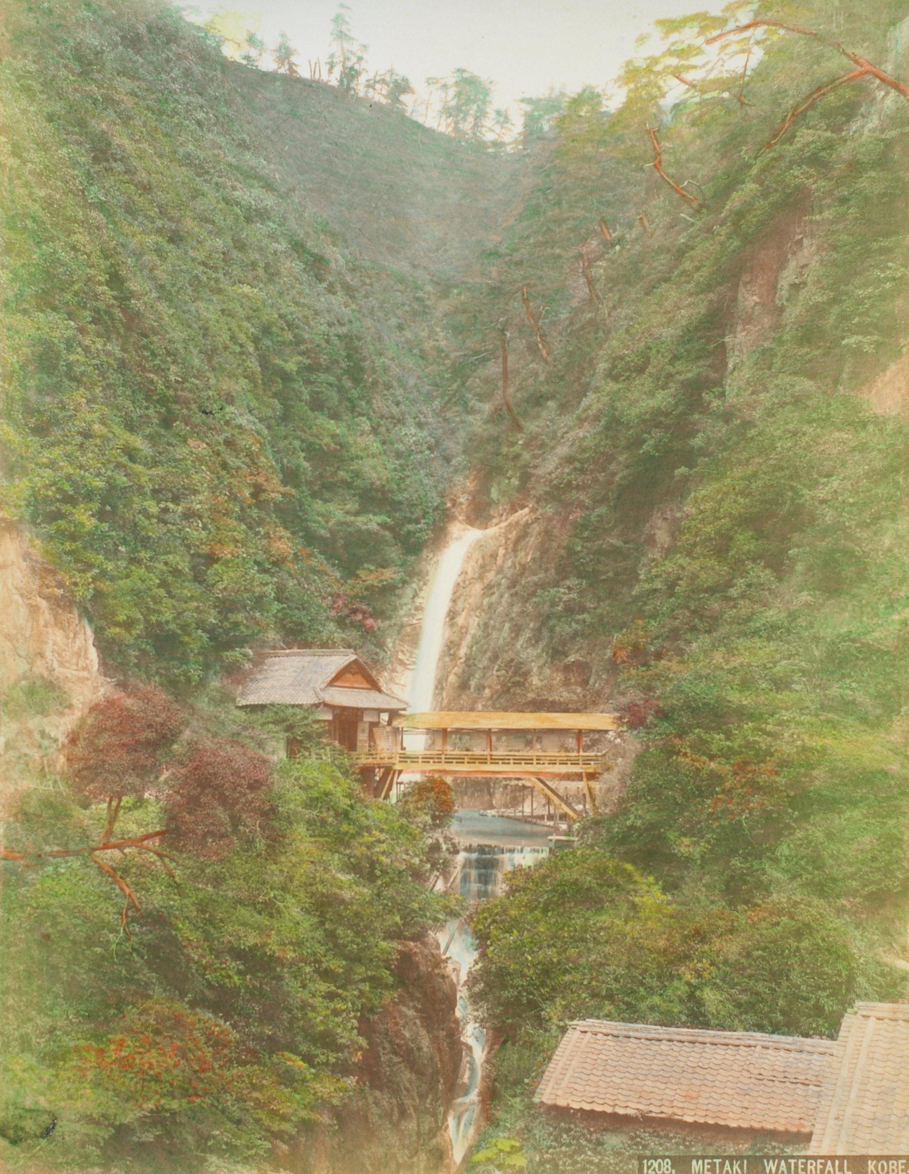 Metaki Waterfall Kobe (.46, recto); Arima Road (.47, verso), Attributed to Kusakabe Kimbei, hand-colored albumen prints mounted to album page