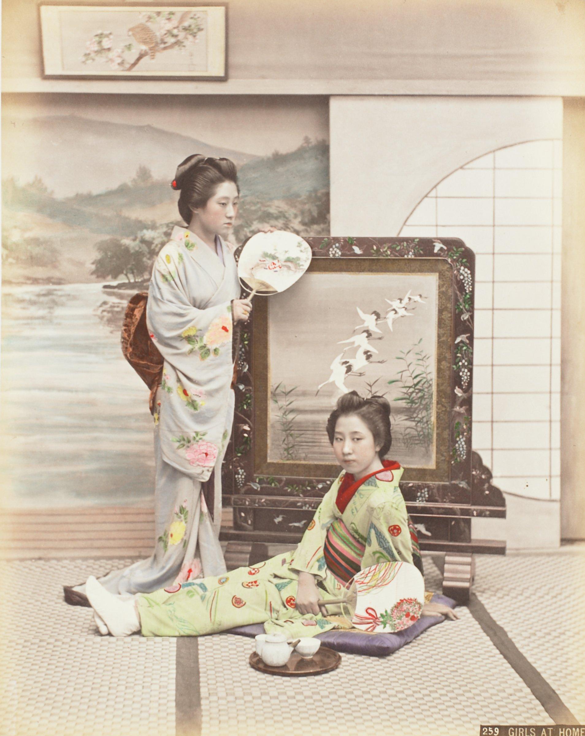 Girls At Home (.8, recto); Jinrikishia (.9, verso), Attributed to Kusakabe Kimbei, hand-colored albumen prints mounted to album page