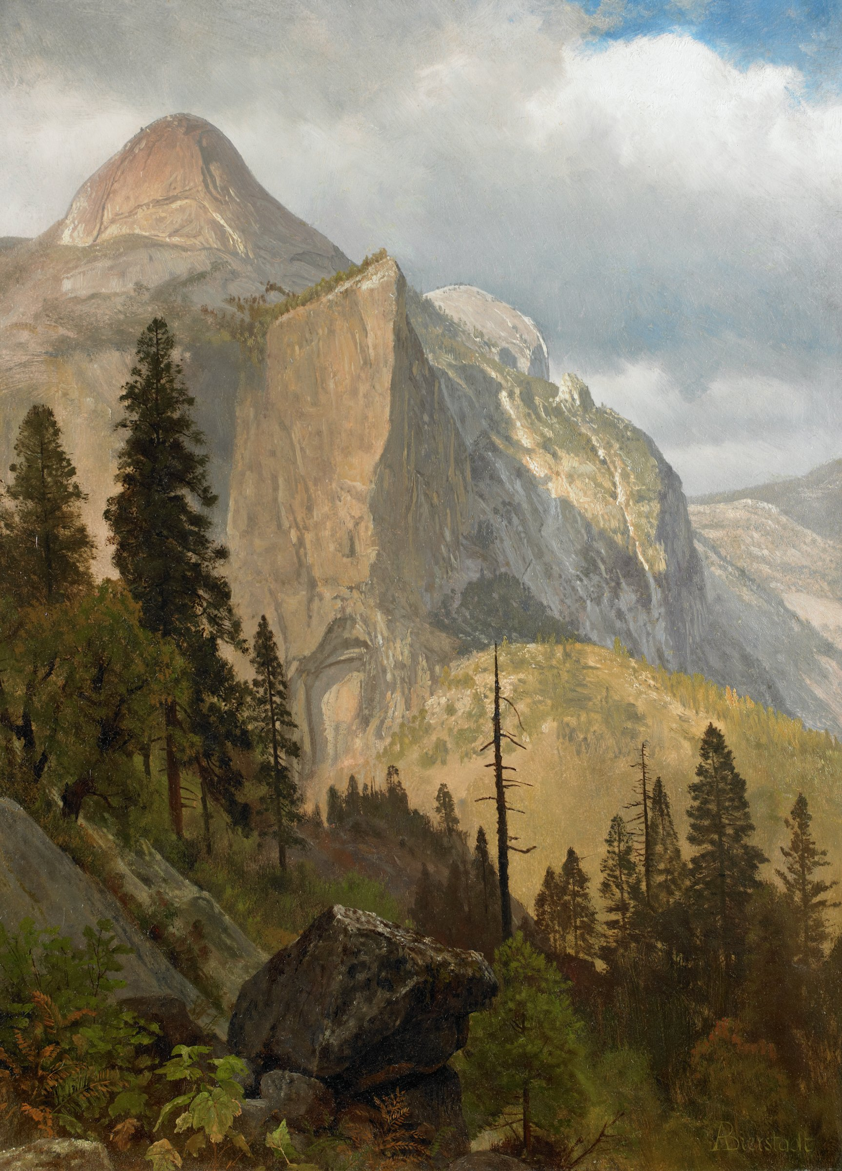 North Dome, Yosemite Valley, Albert Bierstadt, oil on paper mounted to board