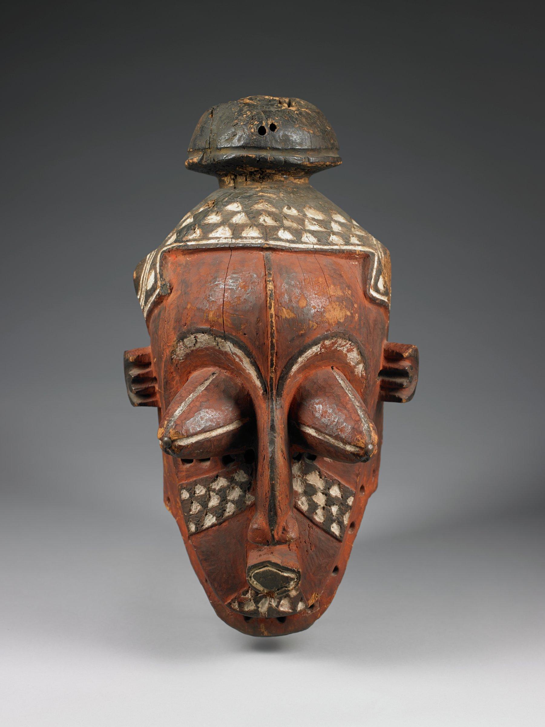 Helmet Mask, Biombo people, Democratic Republic of the Congo, African, wood, pigment, and metal