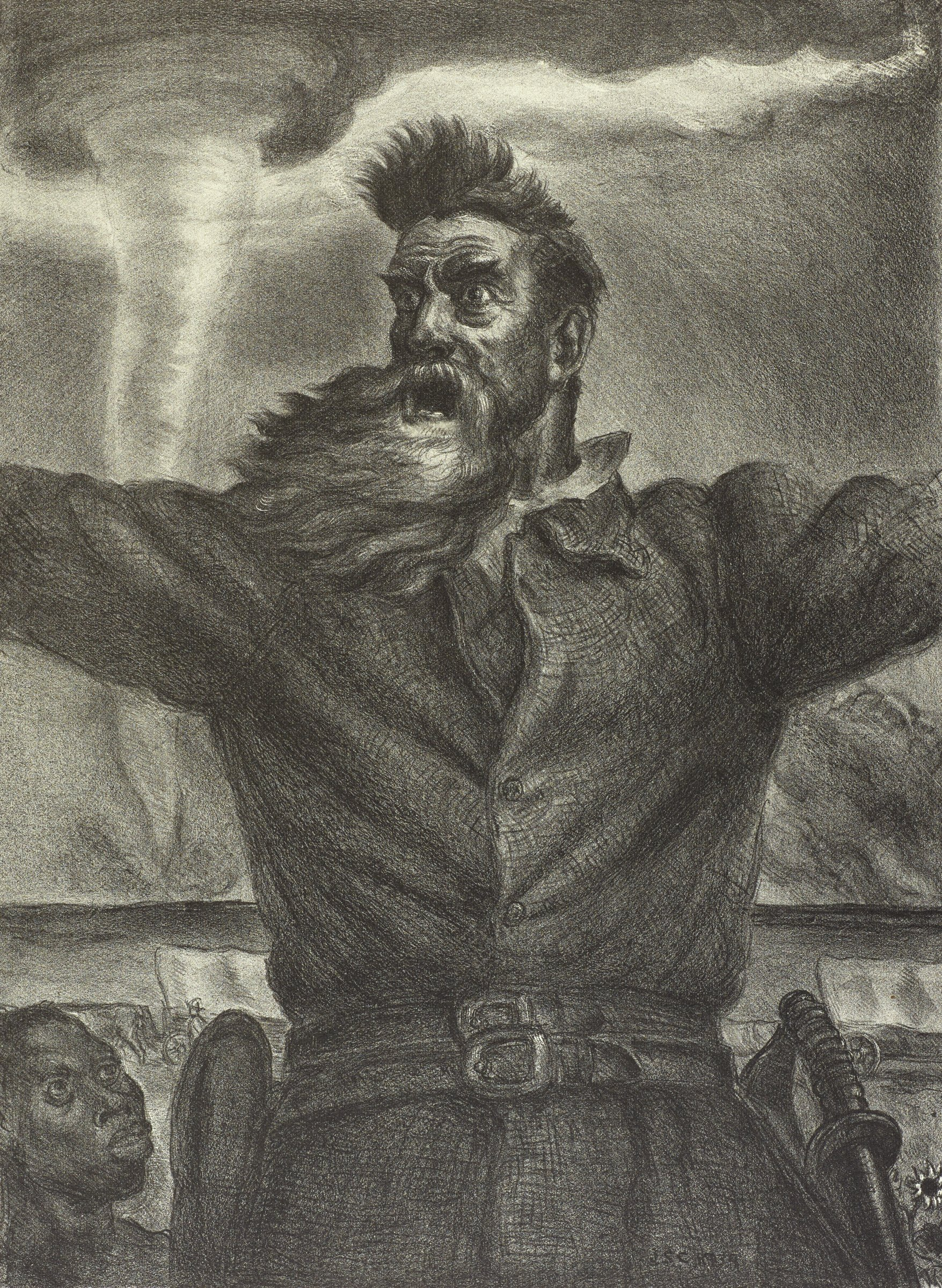 This black and white image shows a man from the waist up with his arms stretched ot his sides. They are cut off above the elbow by the edges of the image. His hair and long beard are whipping in the wind. At the figures lower left is the face of an African American man. Behind the figure's waist are two covered wagons, one to his left and the other to his right. In the darkened background of the image, a tornado touches down on the horizon.