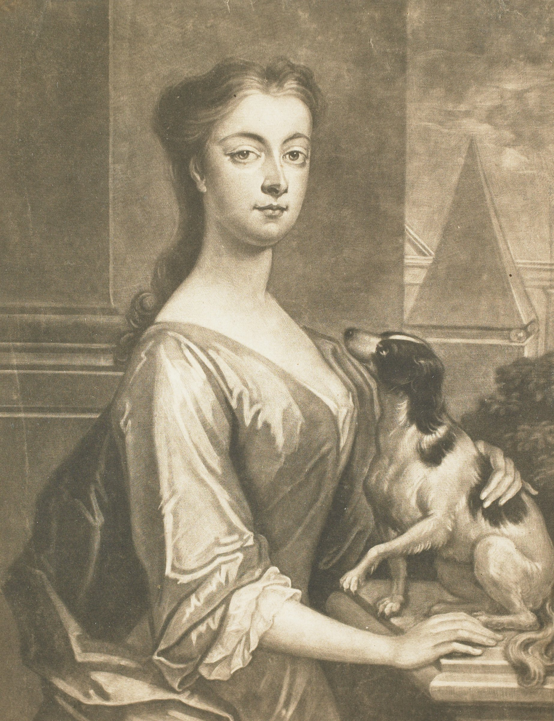 The Duchess of Montagu is shown here in three-forths portrait with a dog looking up at her. She stands infront of a window that displays architectural elements in the background.