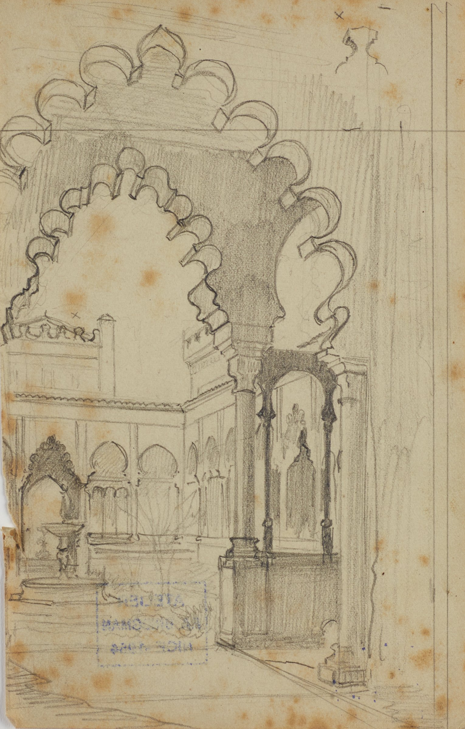 Untitled (Moorish Architectural Scene), Frederic Arthur Bridgman, graphite on paper