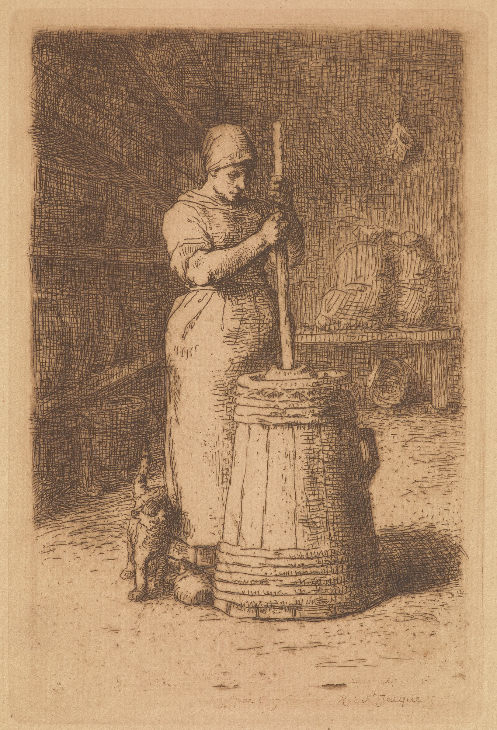 A woman churns butter as a cat brushes against her right leg. Behind her on the left are shelves of barrels. Behind her on the right are two full sacks propped on top of a bench.