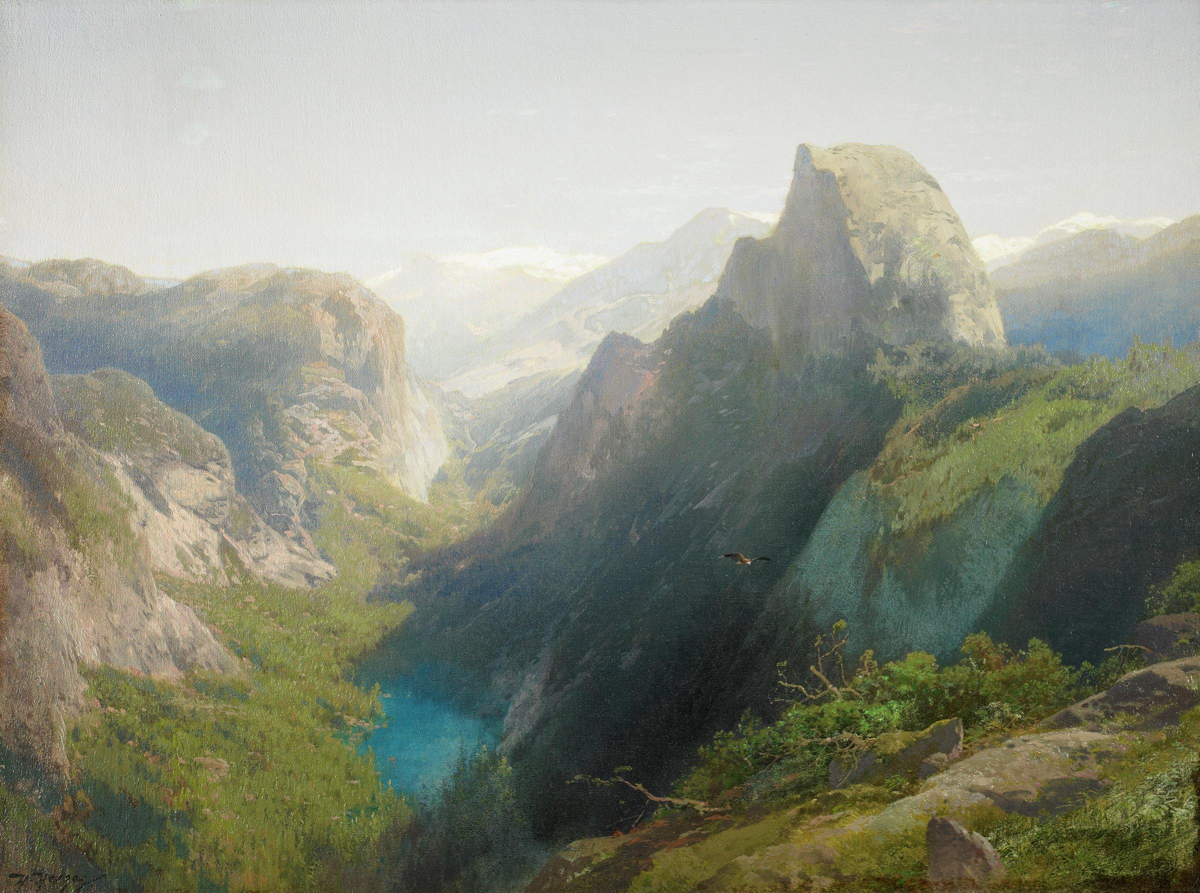 Mirror Lake, Yosemite, Herman Herzog, oil on canvas