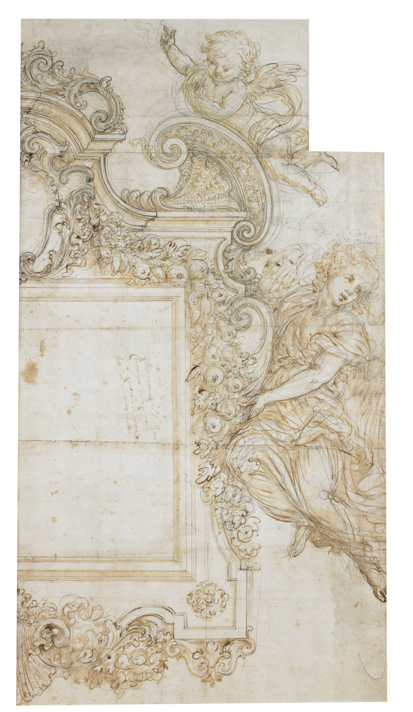 Study for a Frame, Giovanni Battista Foggini, pen and brown ink, brush and brown wash, over black chalk, on laid paper
