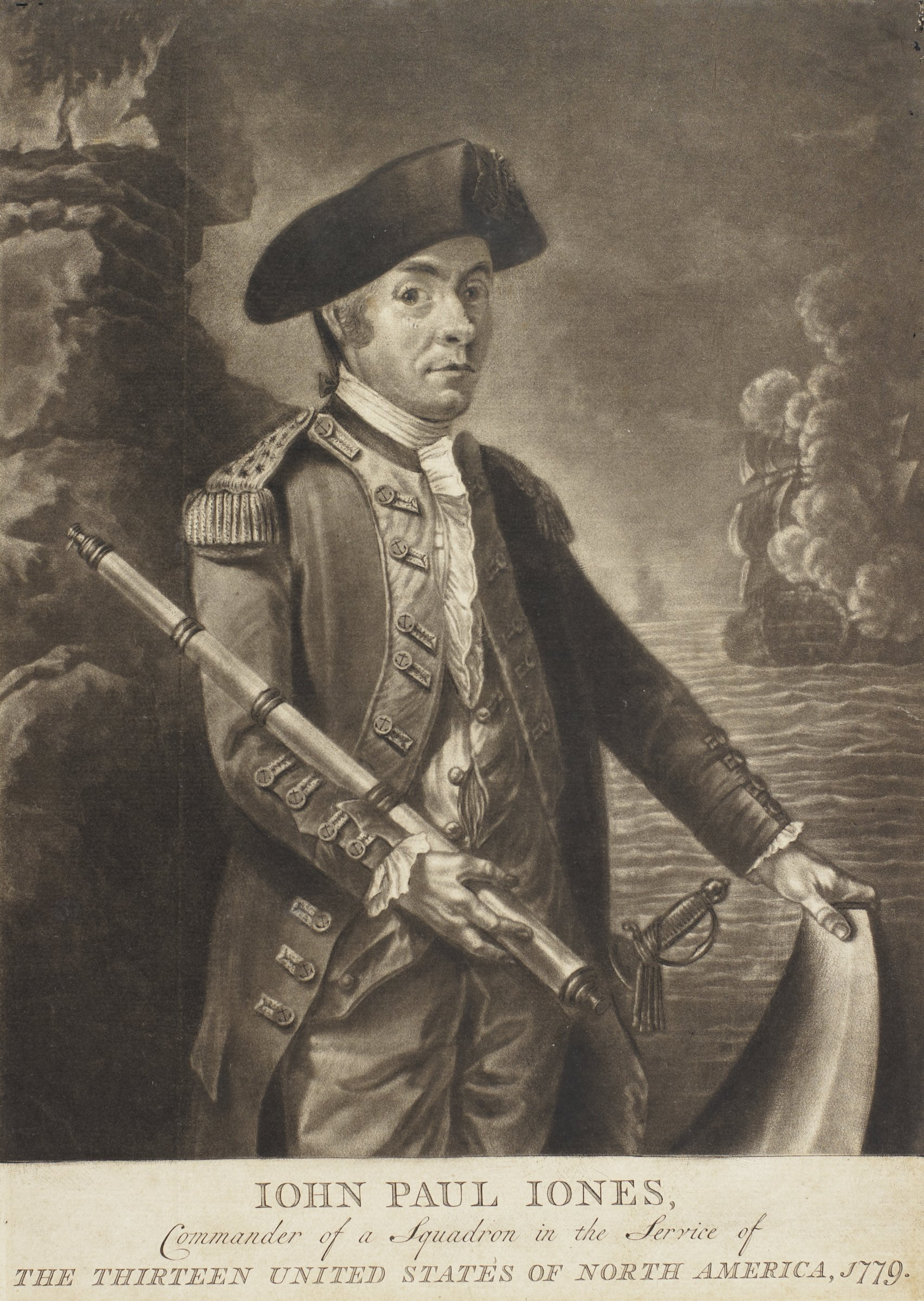 Three-quarter length portrait of a naval officer in uniform who is holding a telescope. His left hand rests on the fluke of an anchor. In the background are tall rocks on the left and a naval battle on the right.