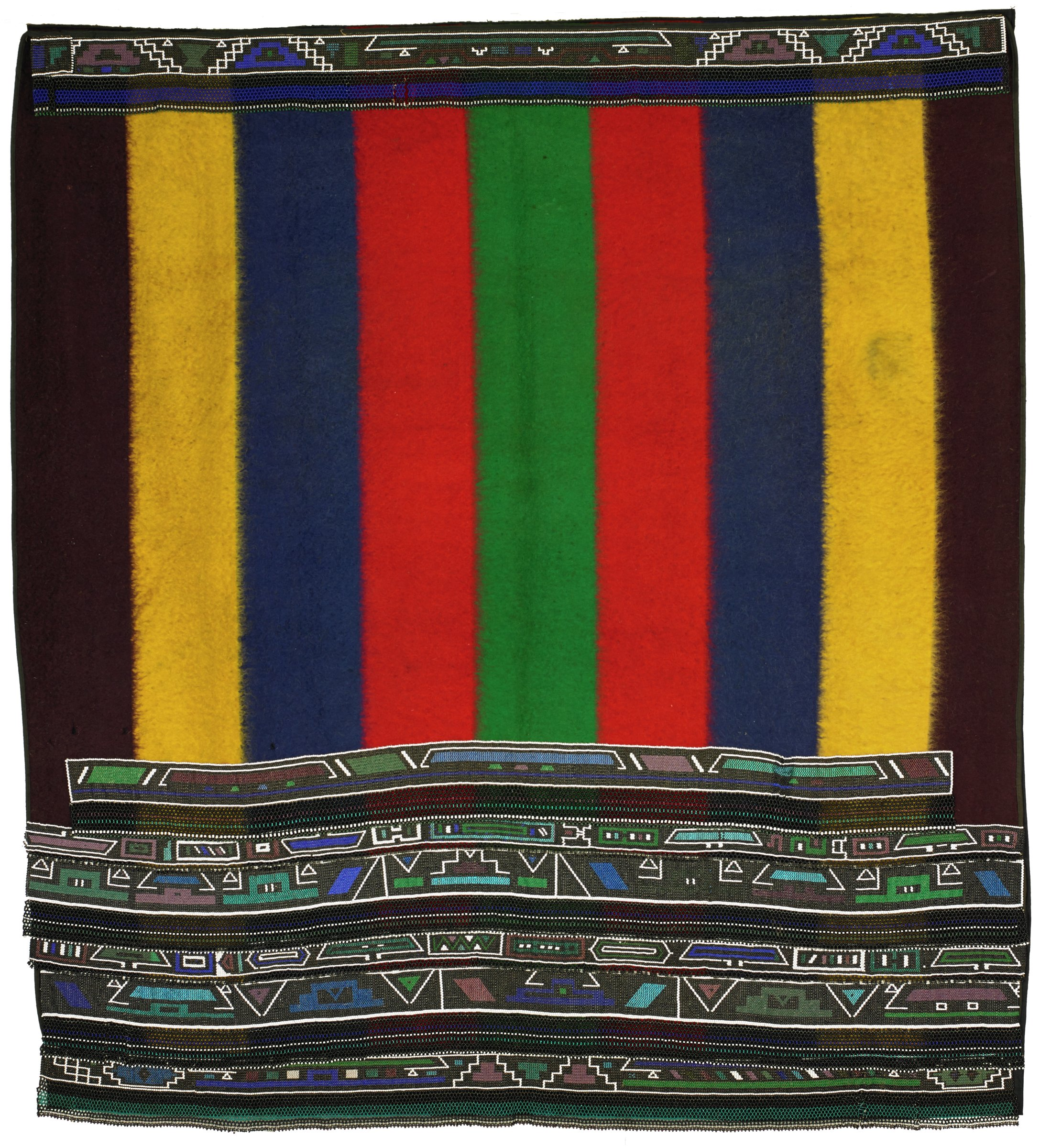Marriage Blanket, Ndebele people, South Africa, African, Middleburg wool blanket, glass beads