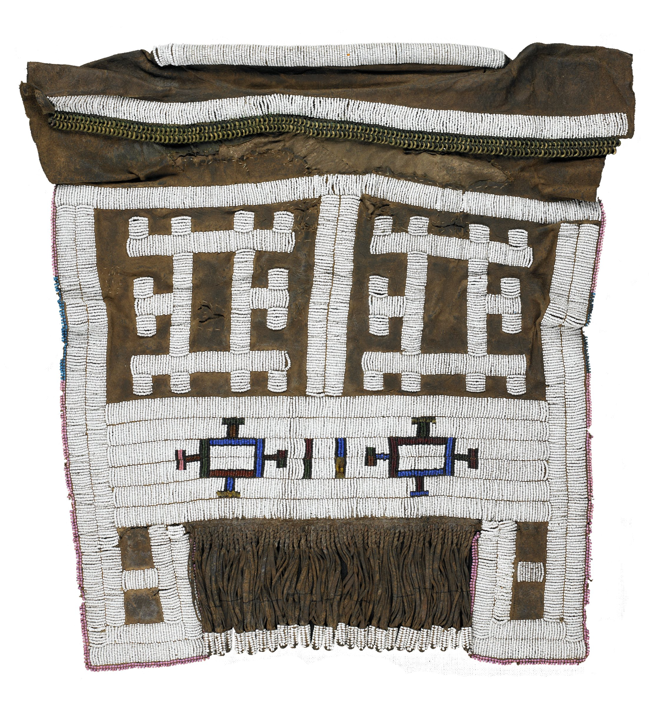 Rectangular hide apron adorned with glass beads -- predominantly white, but borders and certain patterns in pink, green, blue, and burgundy beads. Waistband is folded over and adorned with beads and small metal rings -- one section is stuffed with straw. Panel of beaded fringe at bottom center of panel.