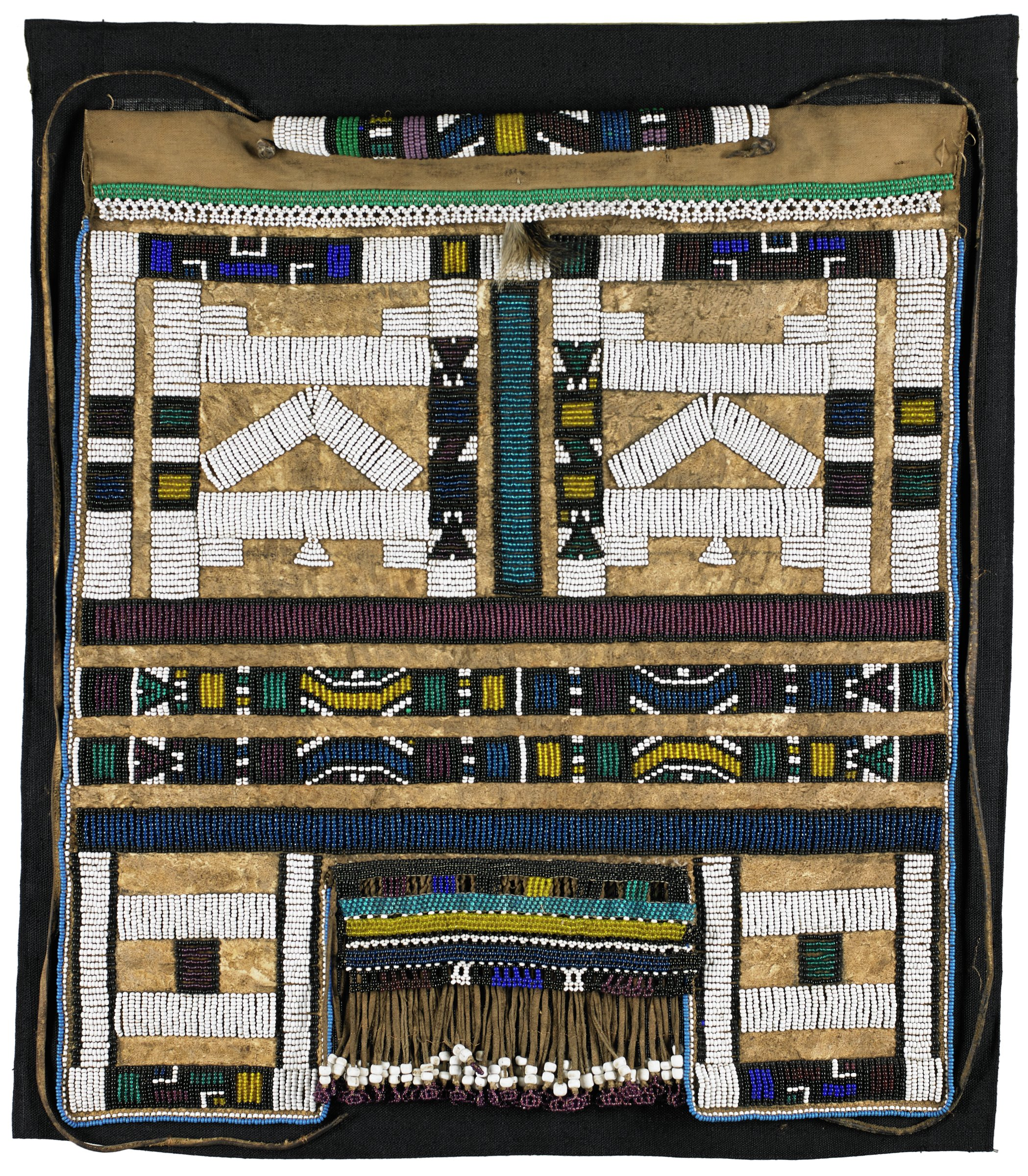 Apron also referred to as mepetu, mapoto, or liphotho; with fringe and geometric design