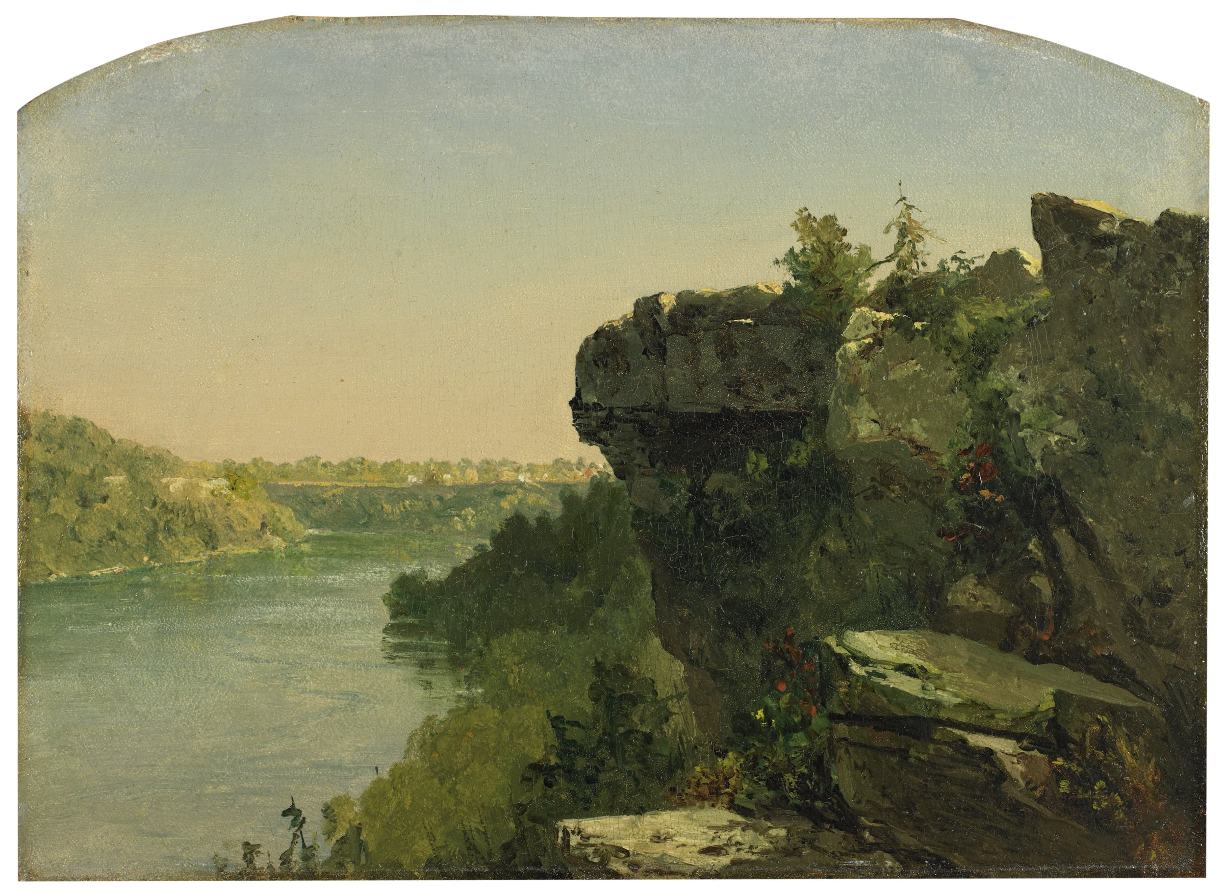 Overlooking the River From the Cliffs, John Frederick Kensett, oil on paper laid down on canvas
