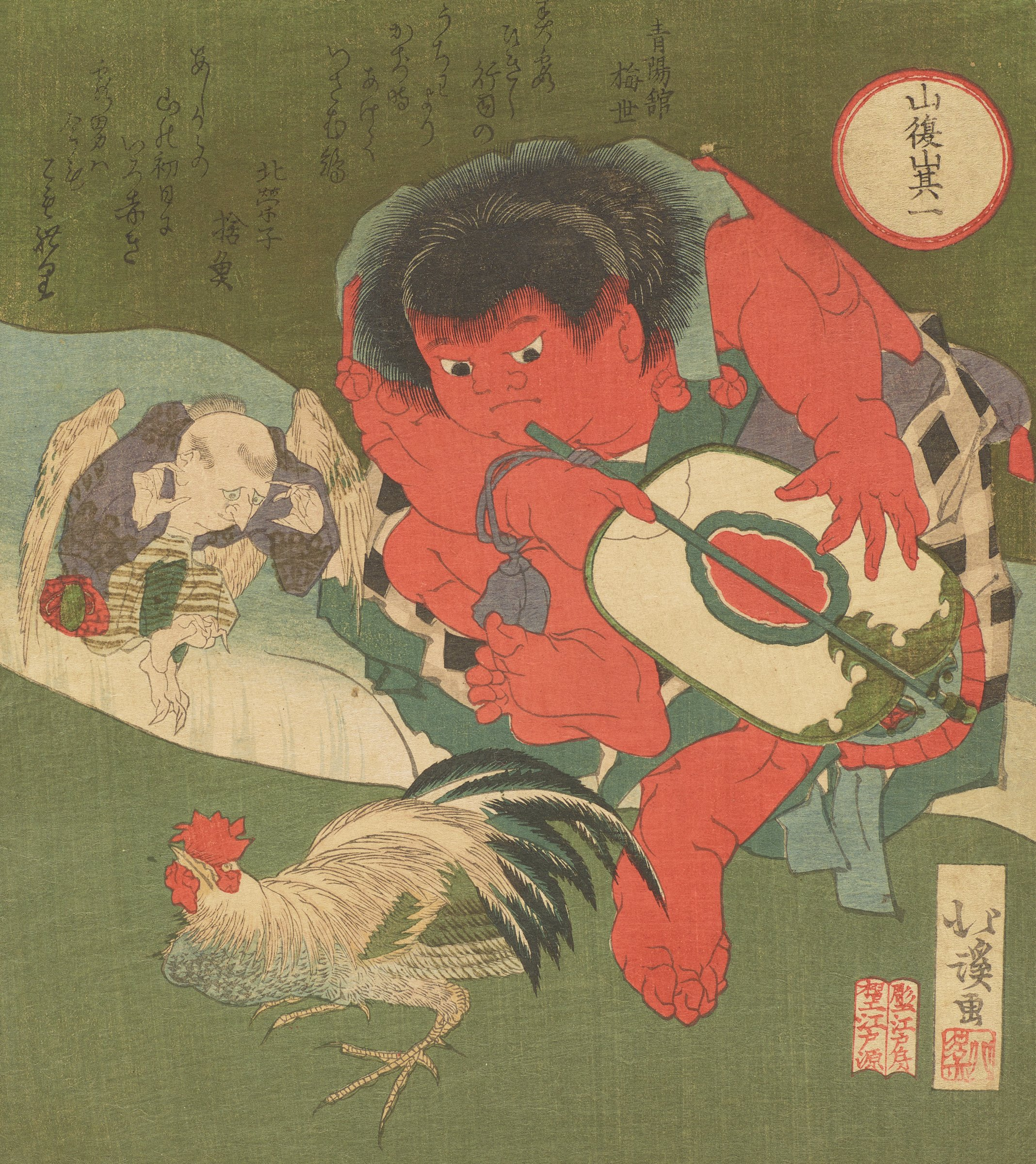 Surimono print of the folk figure Kintaro refereeing a fight with a rooster and a Tengu, perhaps for the Year of the Rooster.