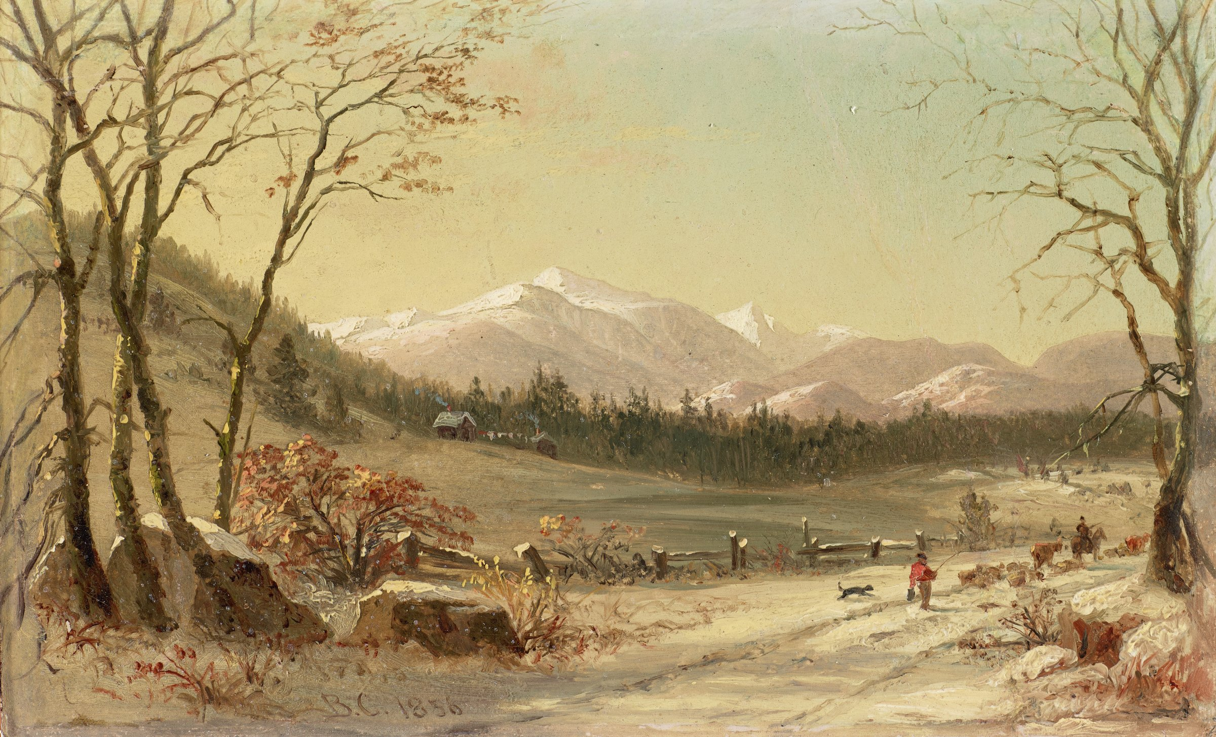 White Mountains (Winter Scene), Benjamin Champney, oil on board
