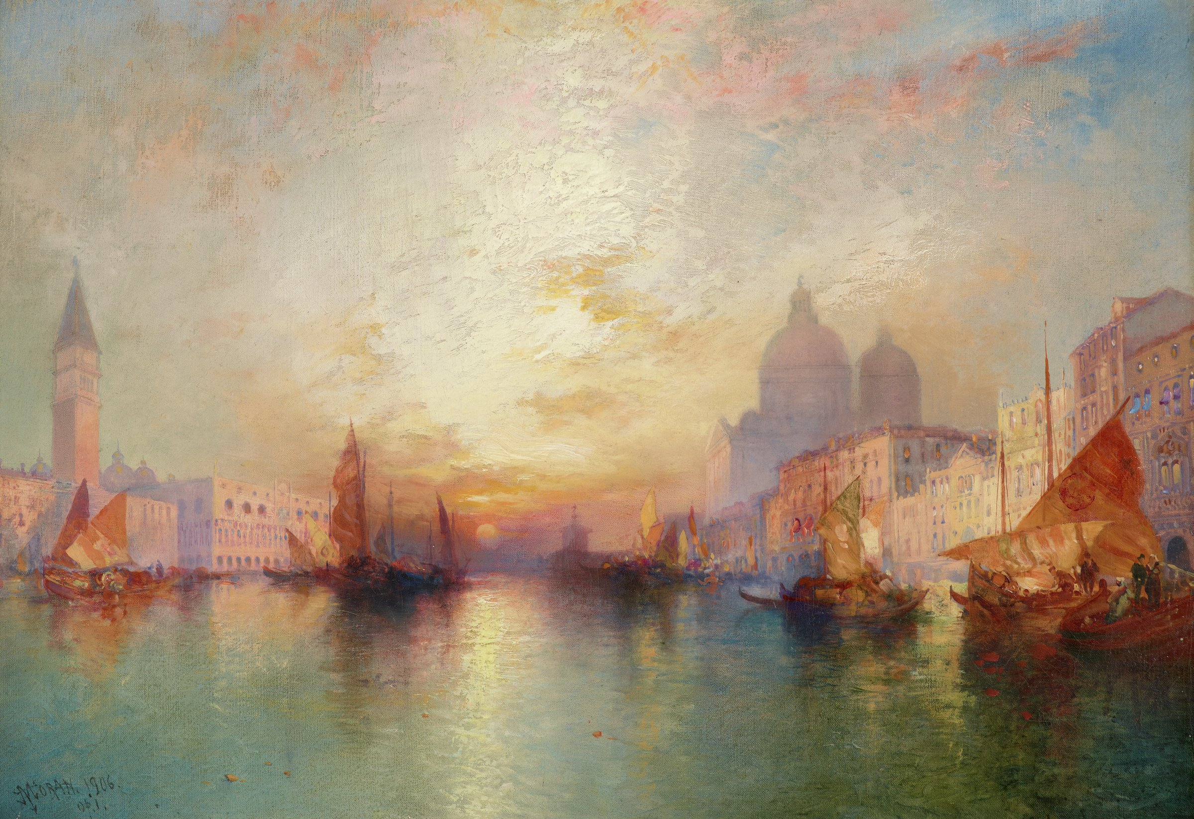 The Grand Canal, which primarily comprises the foreground, has varied blues and greens; a scattering of ships line the canal on both ends; the canal, which sharply recedes into space, culminates in a small but luminous sunset; saturated oranges radiate from around the setting sun and then suffuse into the sky, which has various shades of cool blues and pinks; there is also some impasto in the center of the composition in the sky, where Moran has built up a lot of white; the domes of Santa Maria della Salute can be seen on the right bank of the canal and, although inaccurate in terms of its actual location, the Campanile of St. Marks can be seen on the left bank.