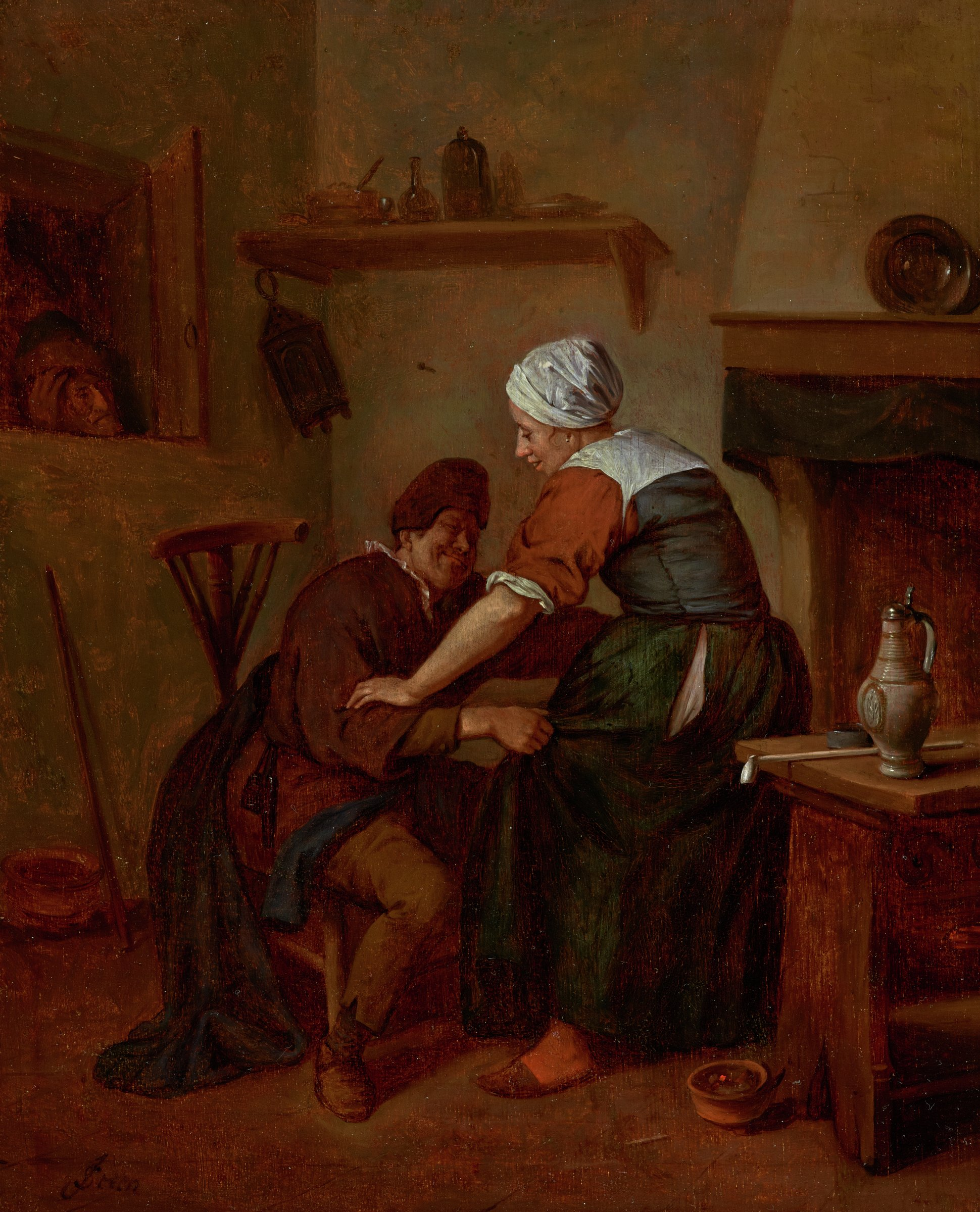 Interior with Figures, Jan Steen, oil on wood